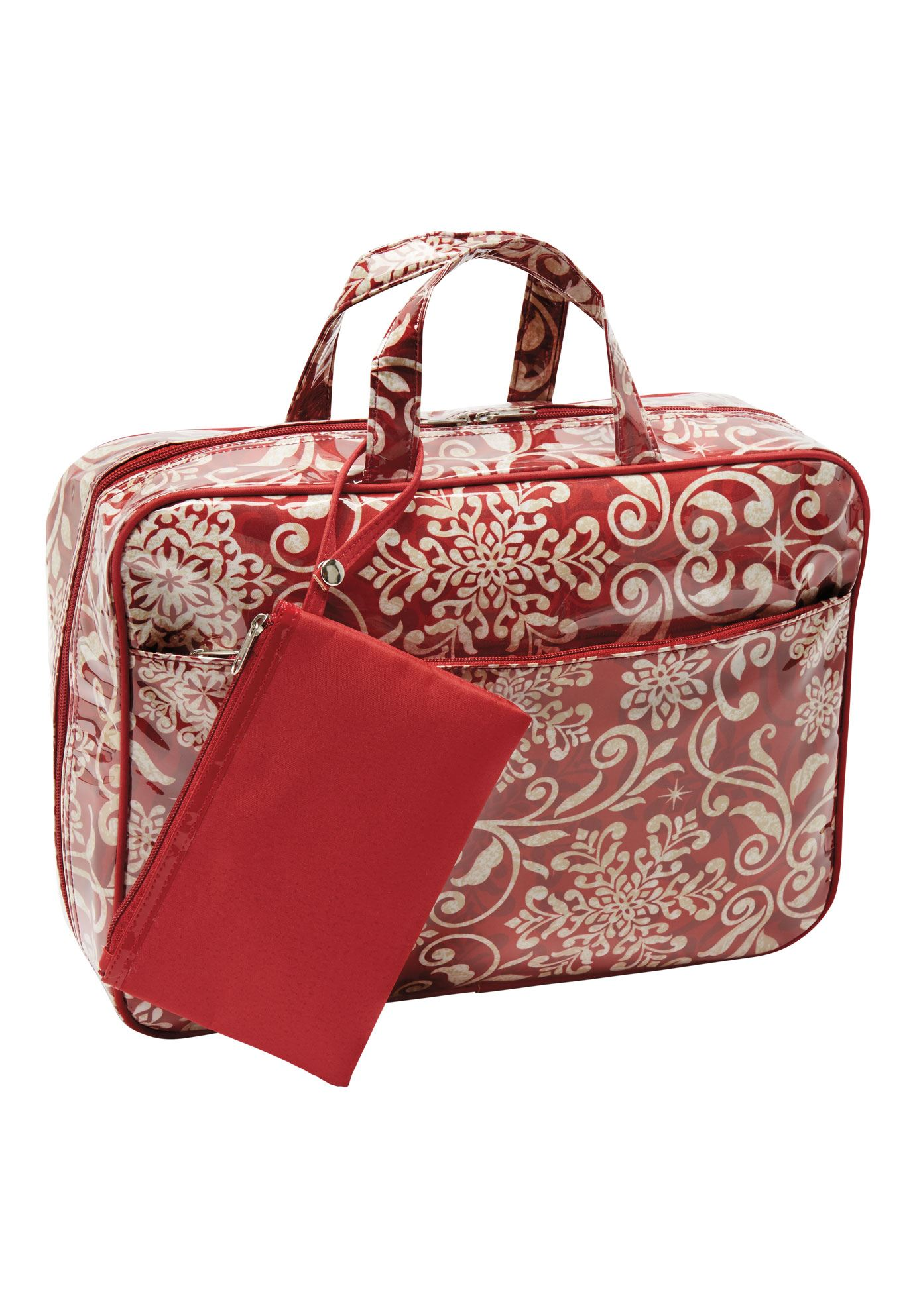 Chic 2-piece travel organizer & wristlet, HOT RED HOLIDAY WRAPPING