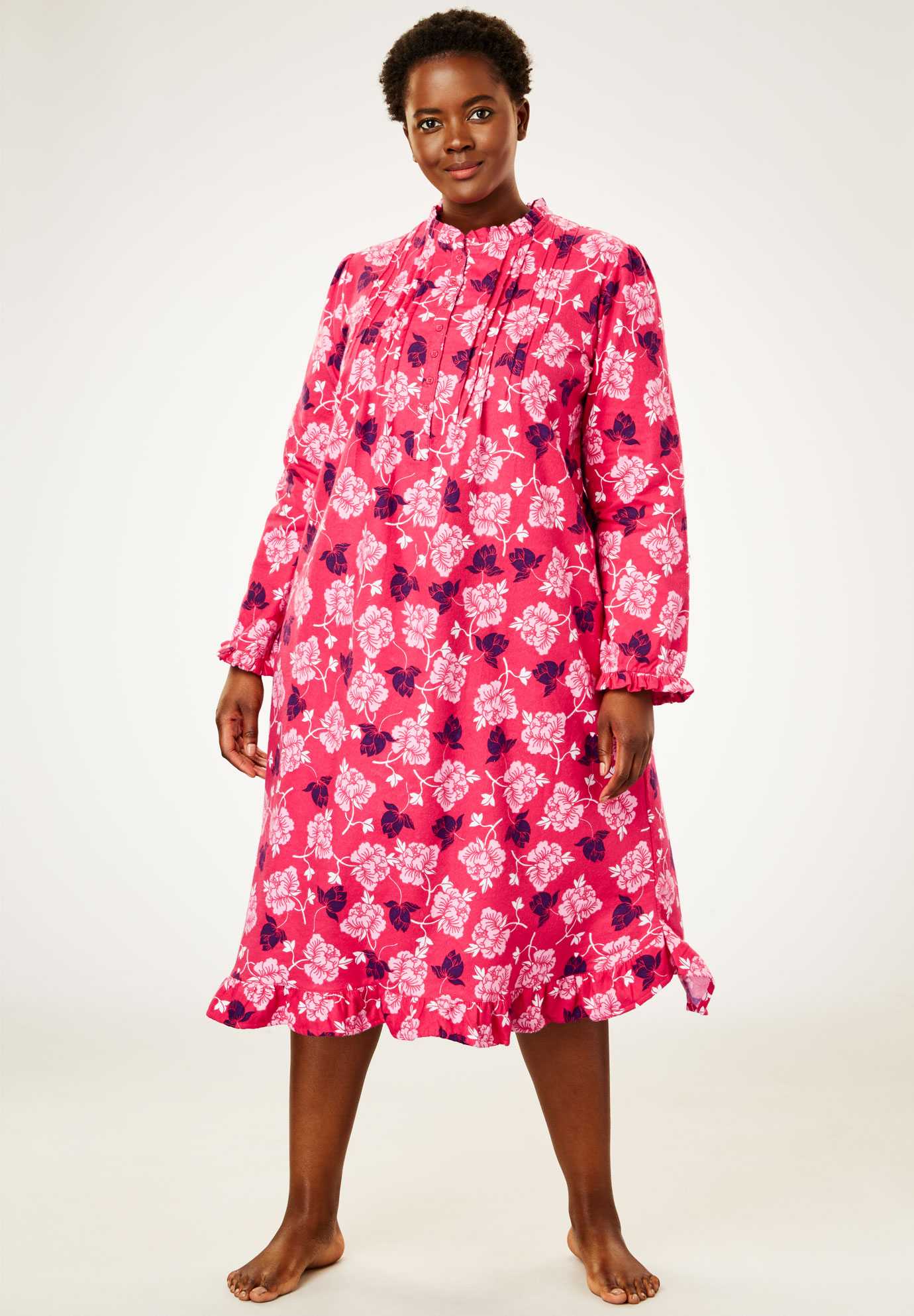 Cotton Flannel Print Short Gown By Only Necessities Plus Size