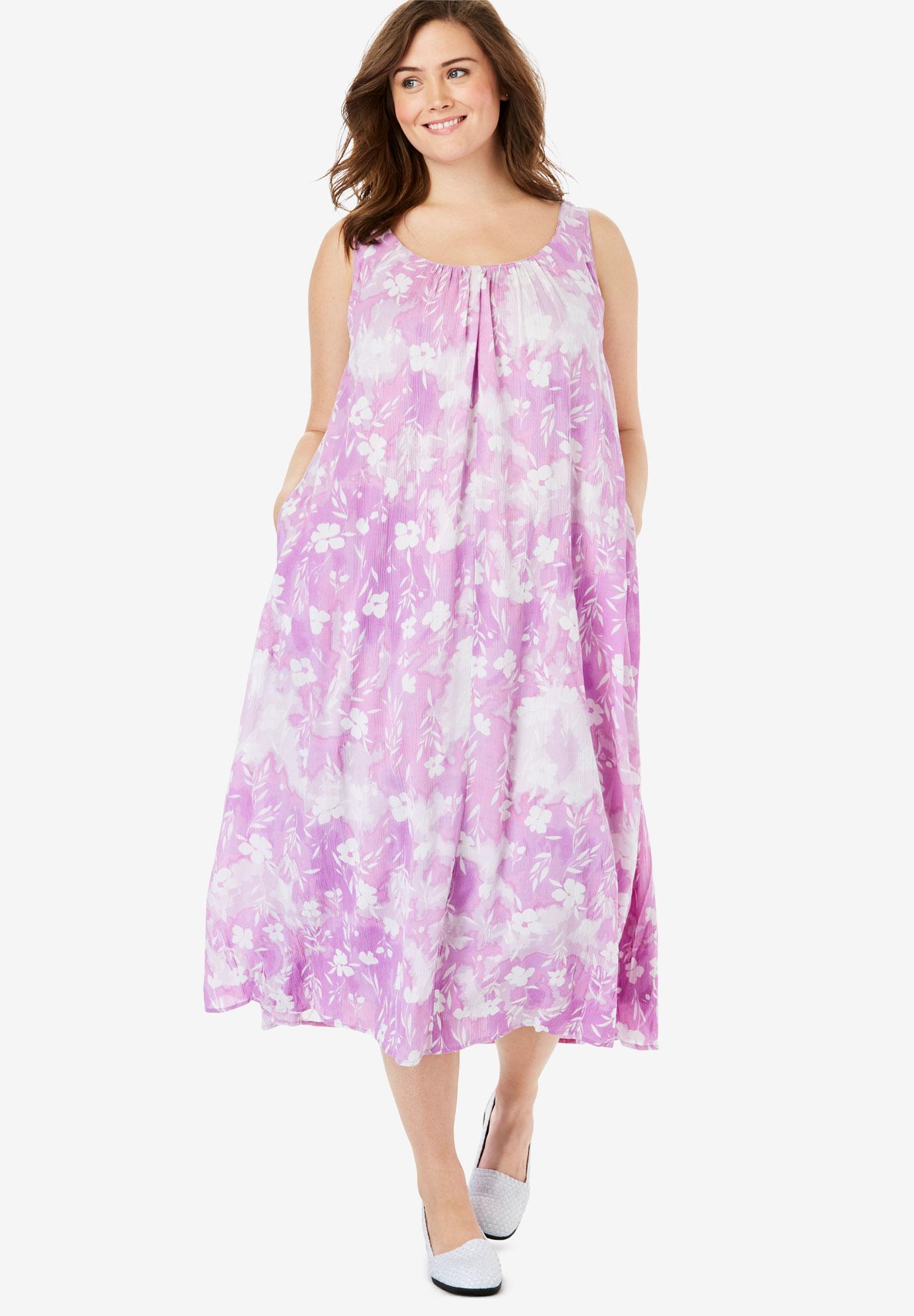 ee52e0e5c A-Line Sleeveless Crinkle Dress| Plus Size Casual Dresses | Full Beauty