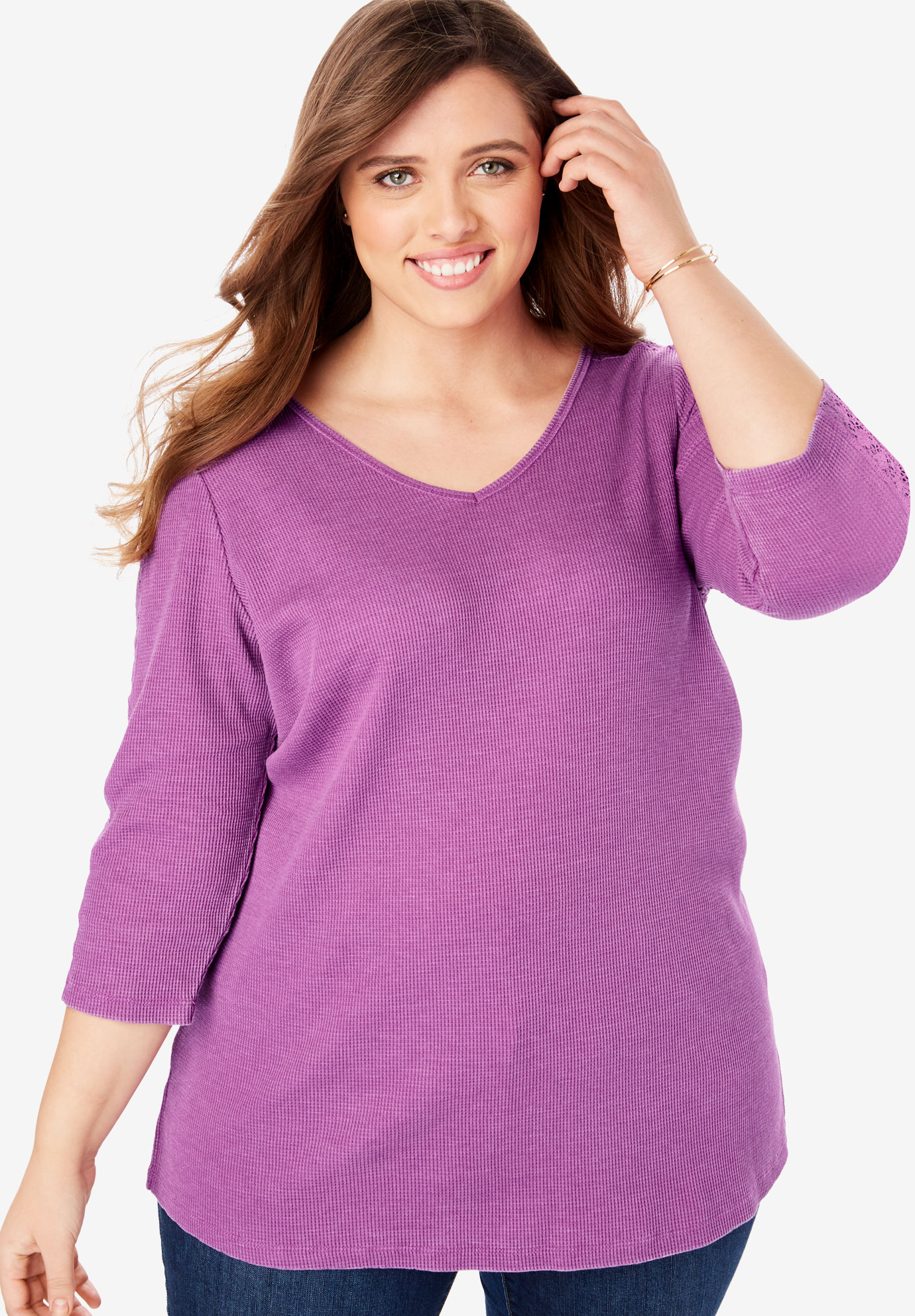 Crochet-Trim Sleeve Thermal Tee,