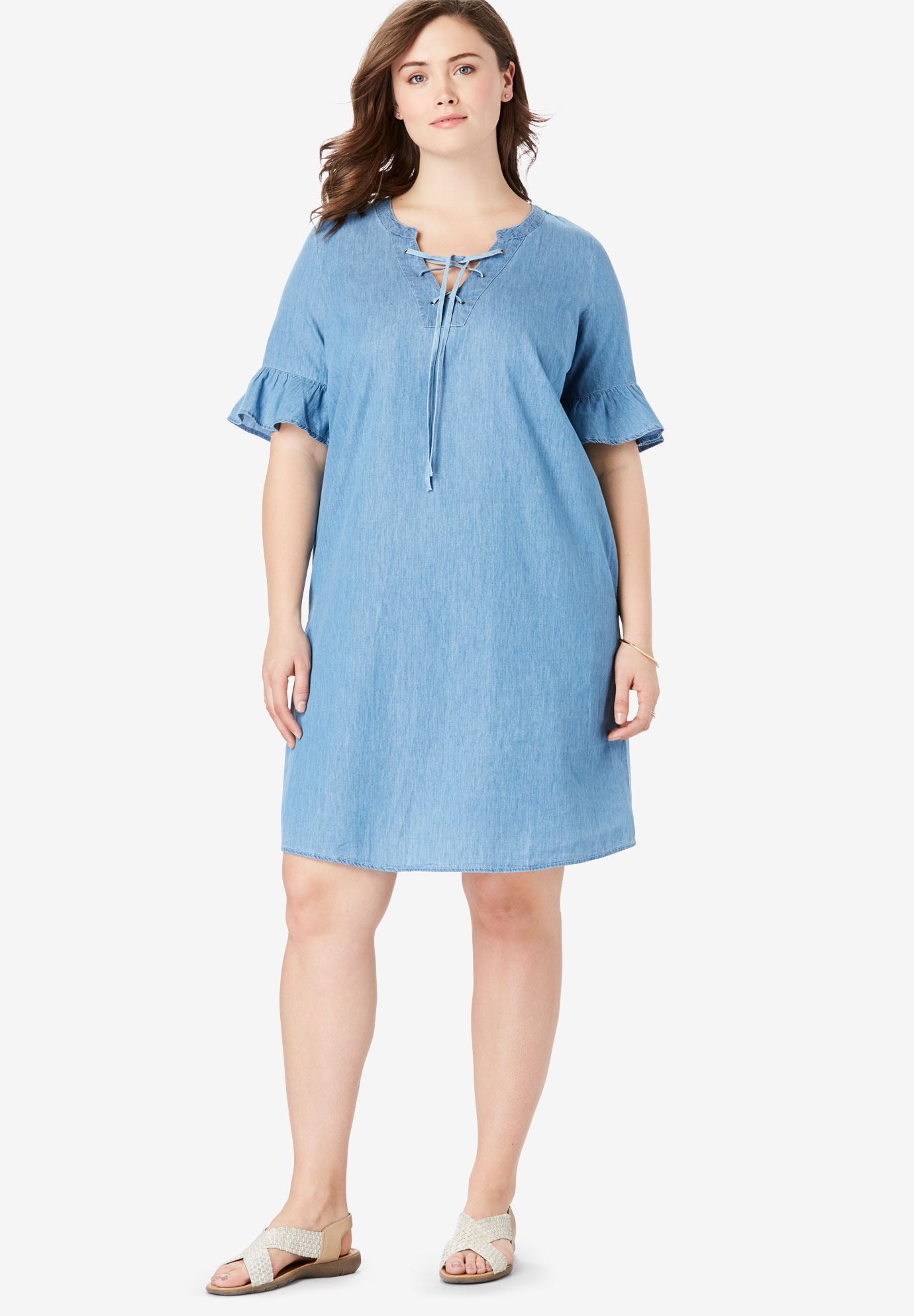 Ruffle Sleeve Lace-Up Dress,