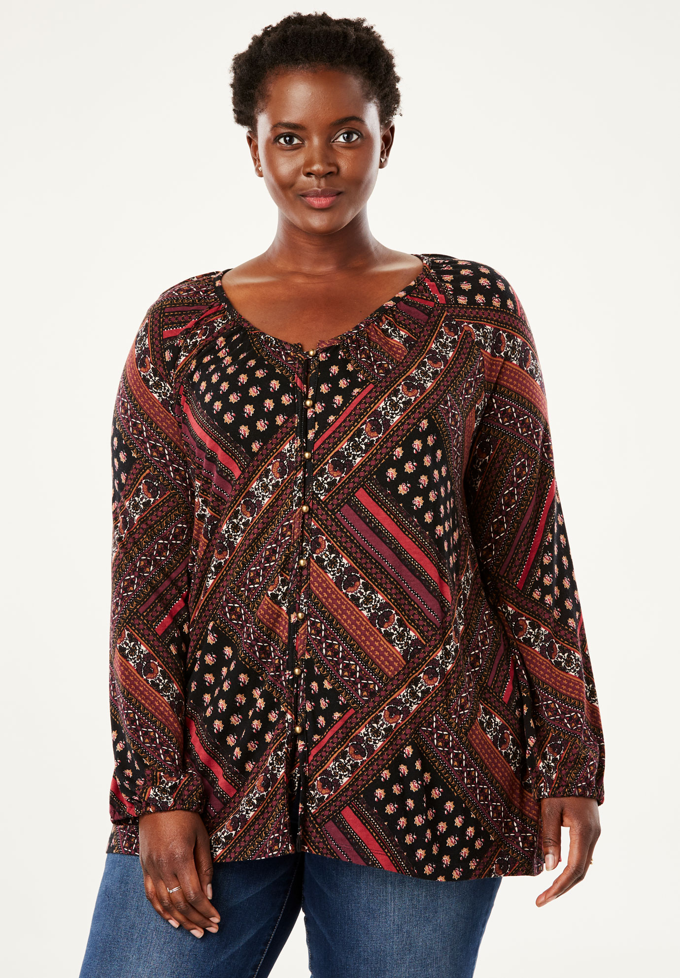 Printed Button Front Tunic by Chelsea Studio®,