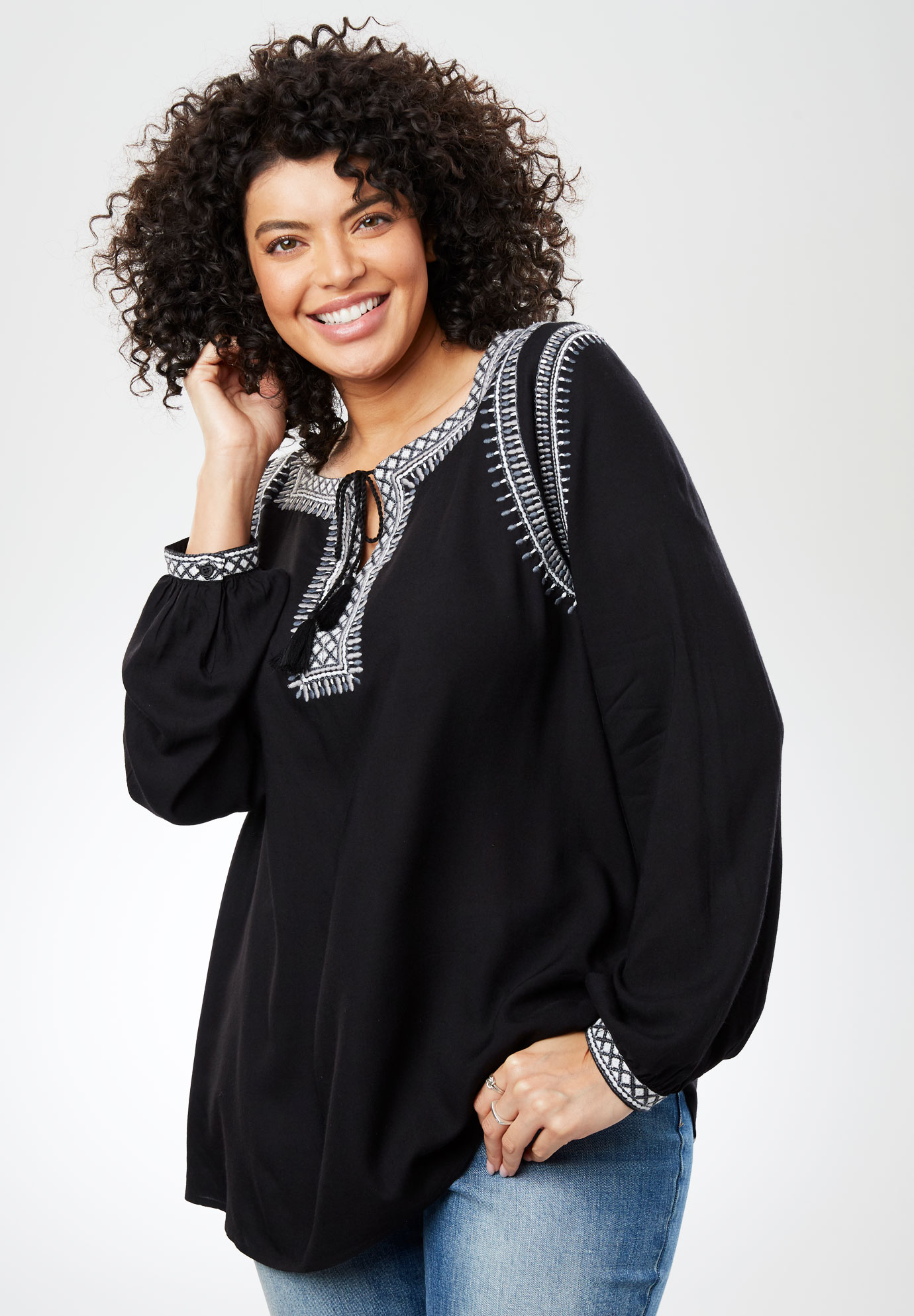 Embroidered-Trim Peasant Top with Ties,