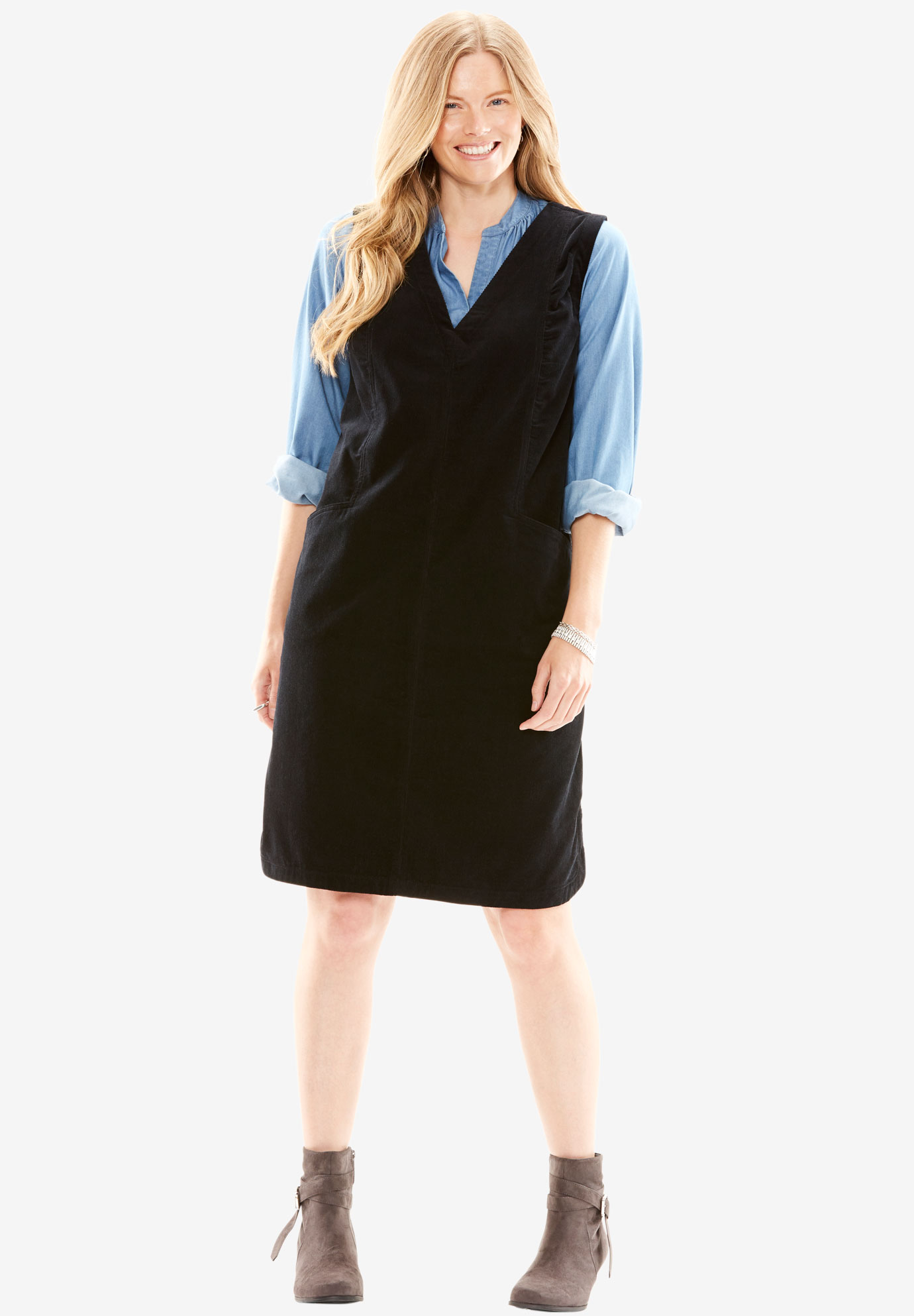 Corduroy Jumper Plus Size Casual Dresses Full Beauty