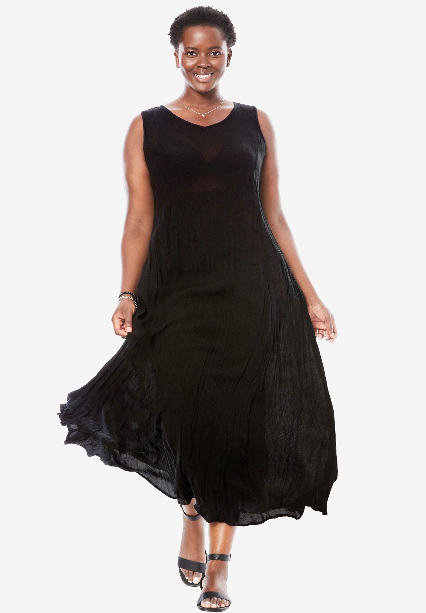 24f6754d3 Sleeveless Crinkle A-Line Dress | Plus Size Casual Dresses | Full Beauty