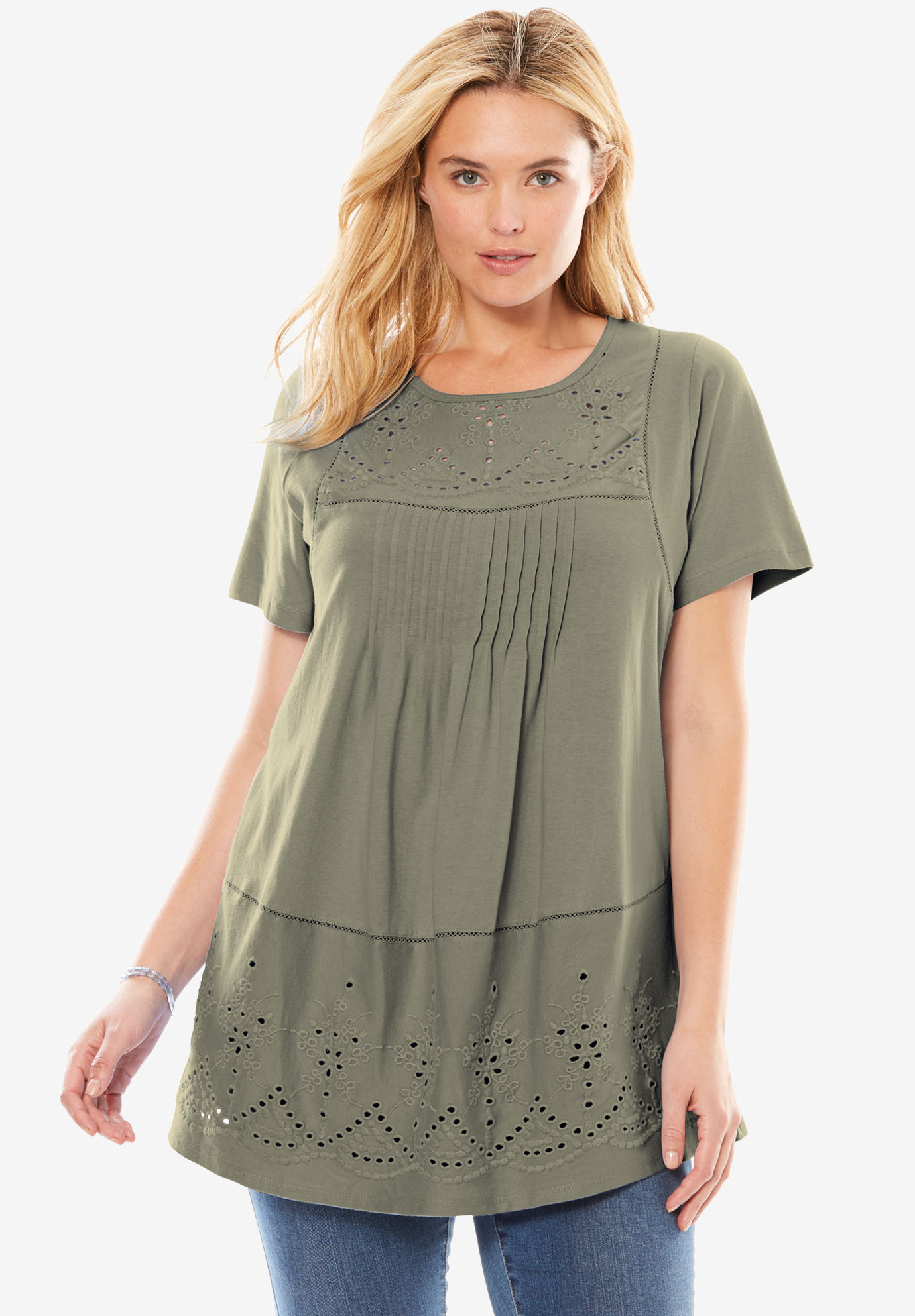 Embroidered Eyelet Pintucked Tunic,