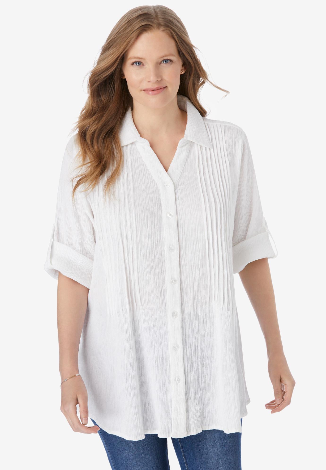 Pintucked Button Down Gauze Shirt Plus Size Shirts Blouses