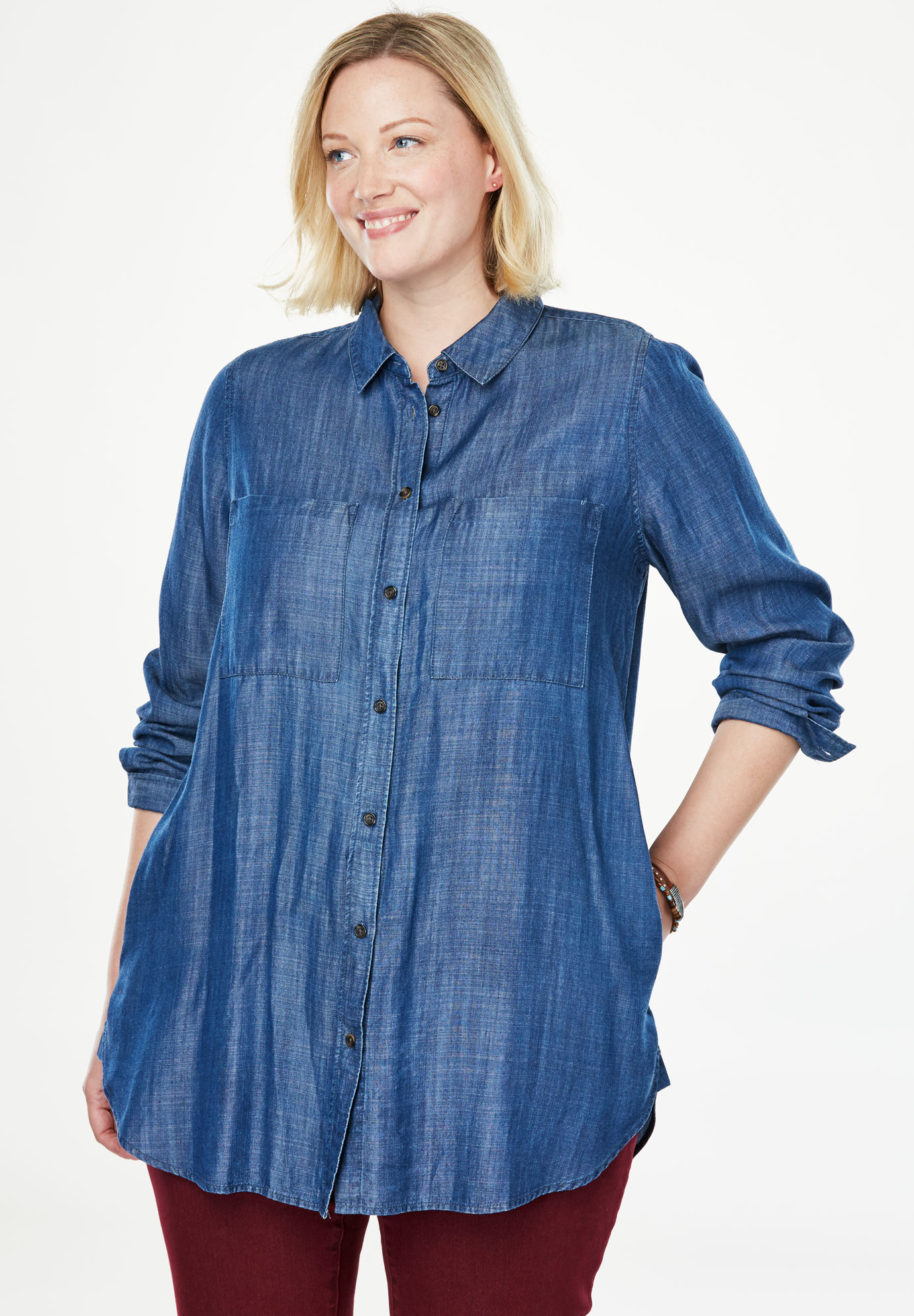 Denim Button-Down Tunic Shirt,