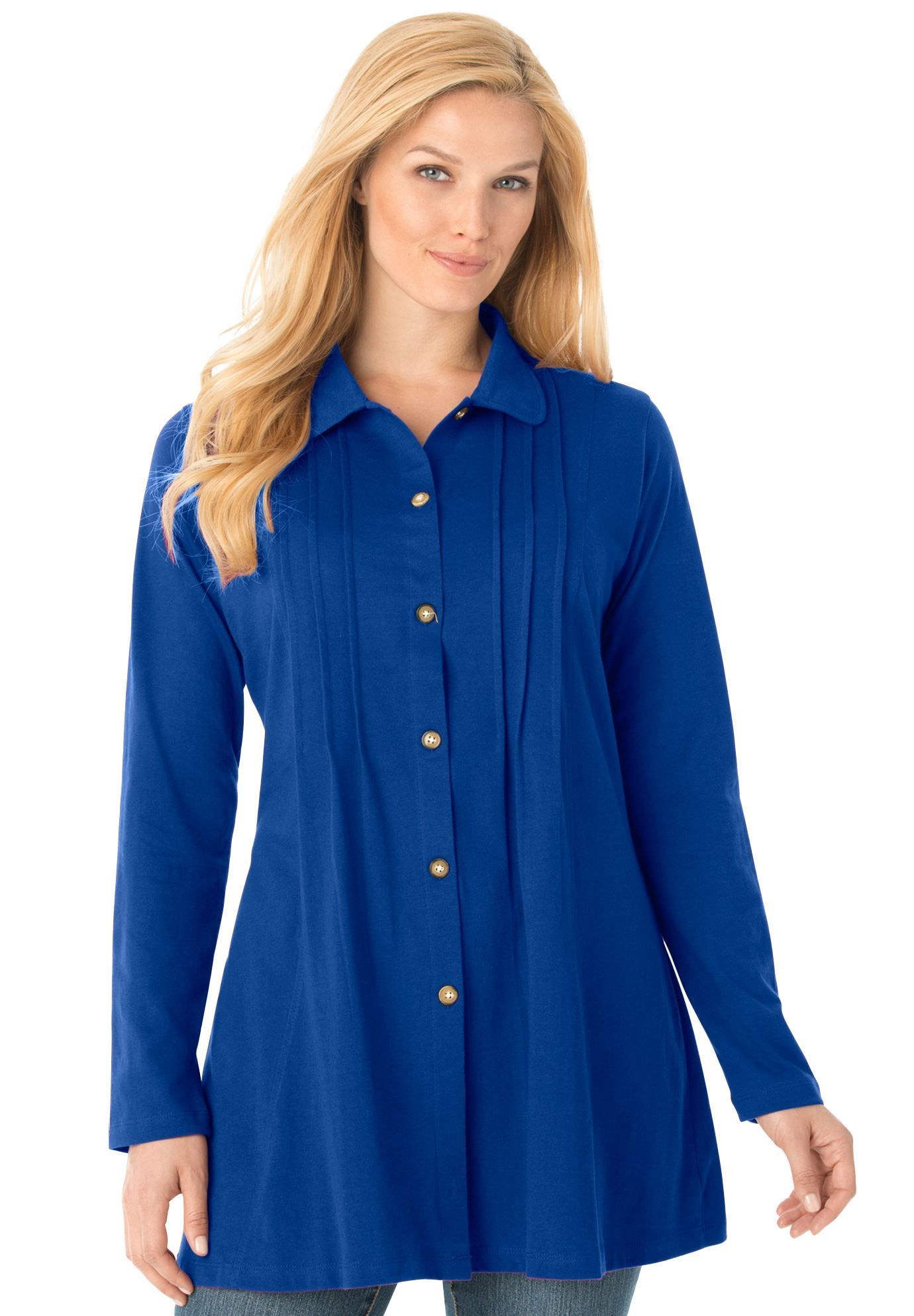 c627adfb8f2 Pleated button-front tunic
