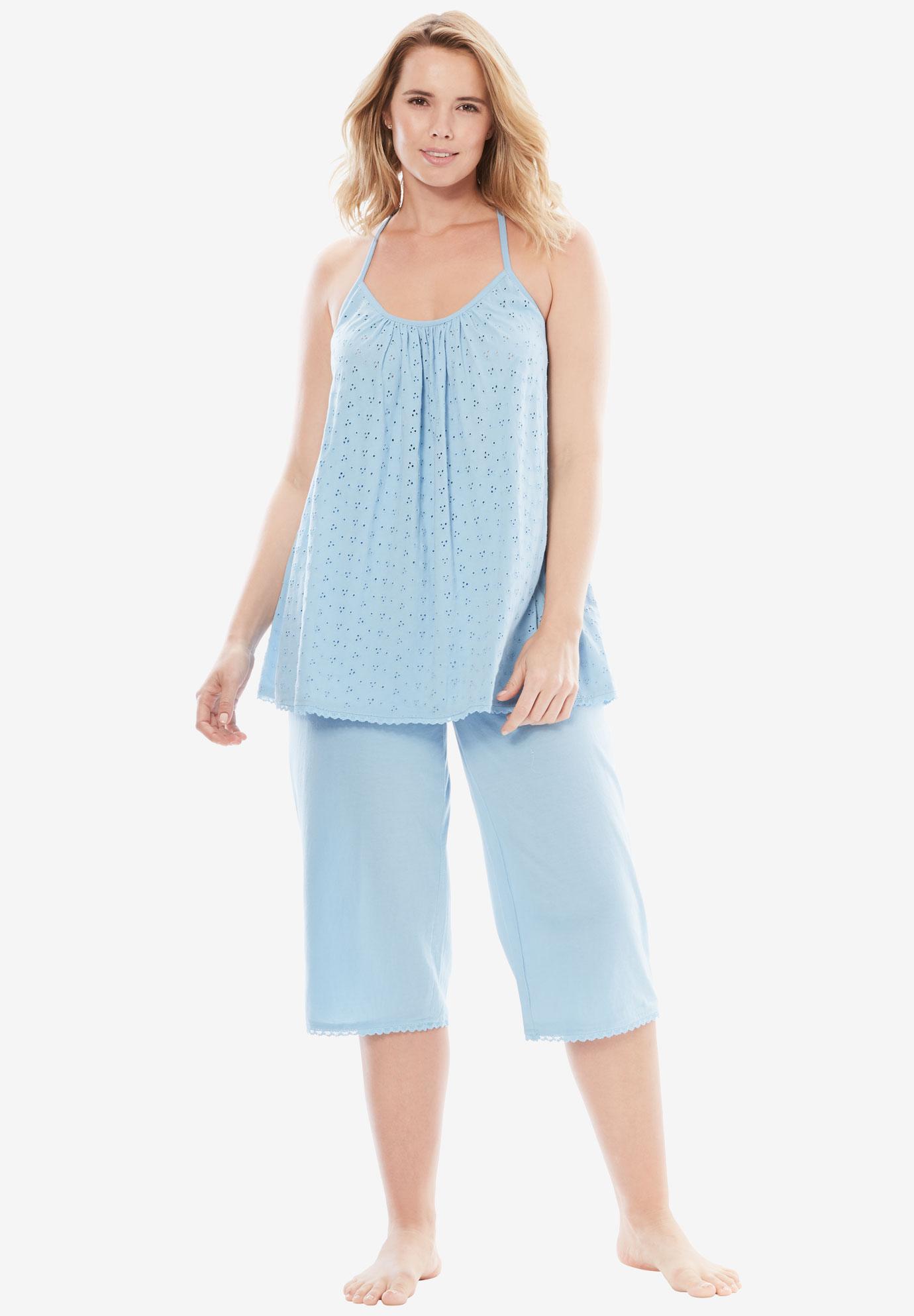 2e5c2b8b00335 Breezy Eyelet Knit Tank & Capri PJ Set by Dreams & Co.® | Plus Size ...
