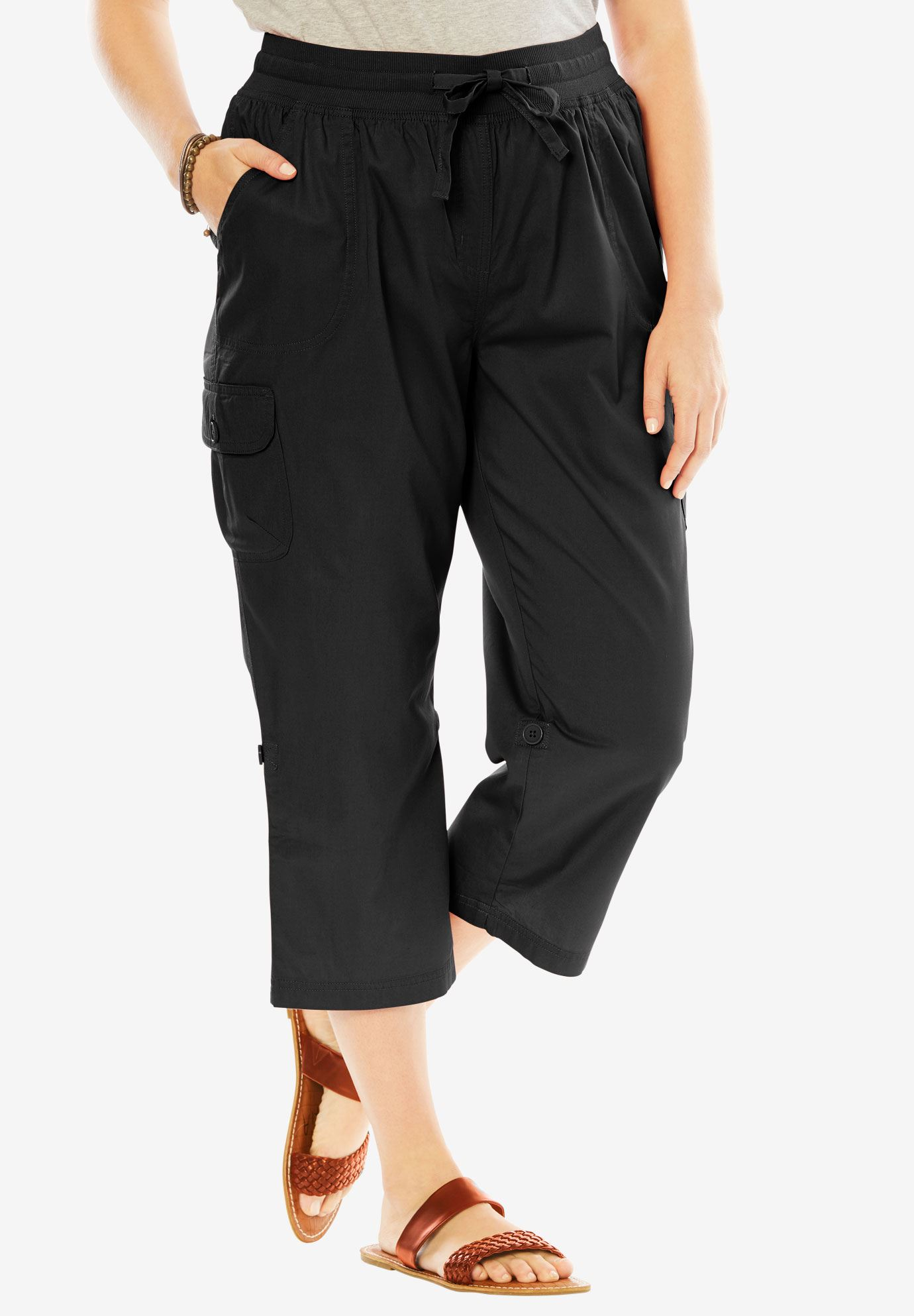 7707e3b4cd6 Convertible-Length Cotton Cargo Capri Pants