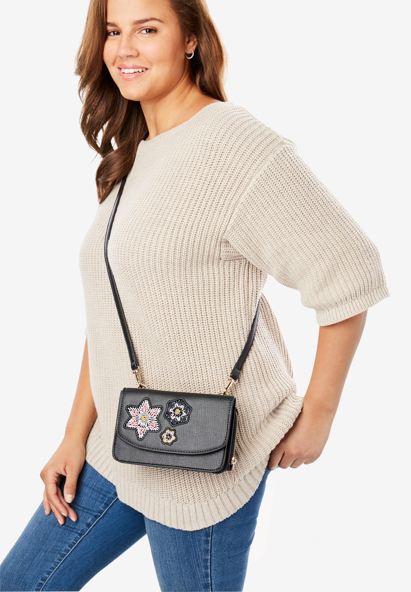 Convertible Crossbody Wallet Bag, BEADING FLORAL