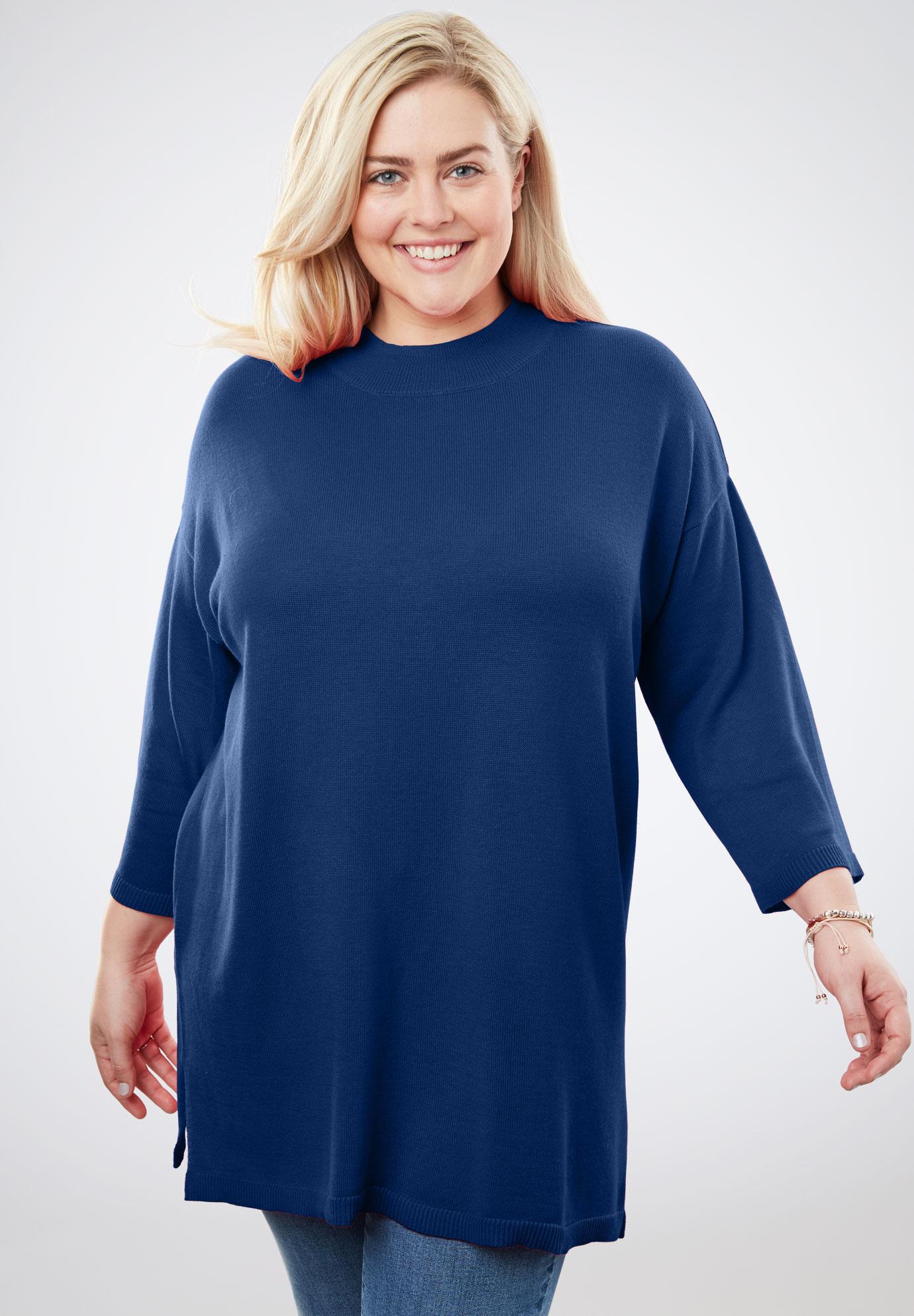 Fine Gauge Mock Neck Tunic Sweater Plus Size Sweaters Cardigans