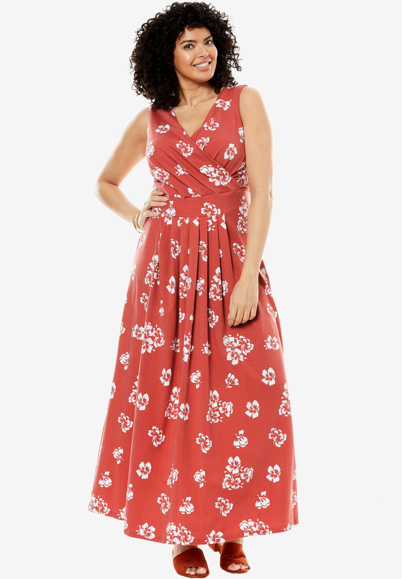 da1e4d33fb0 Stretch knit surplice dress in prints   solids