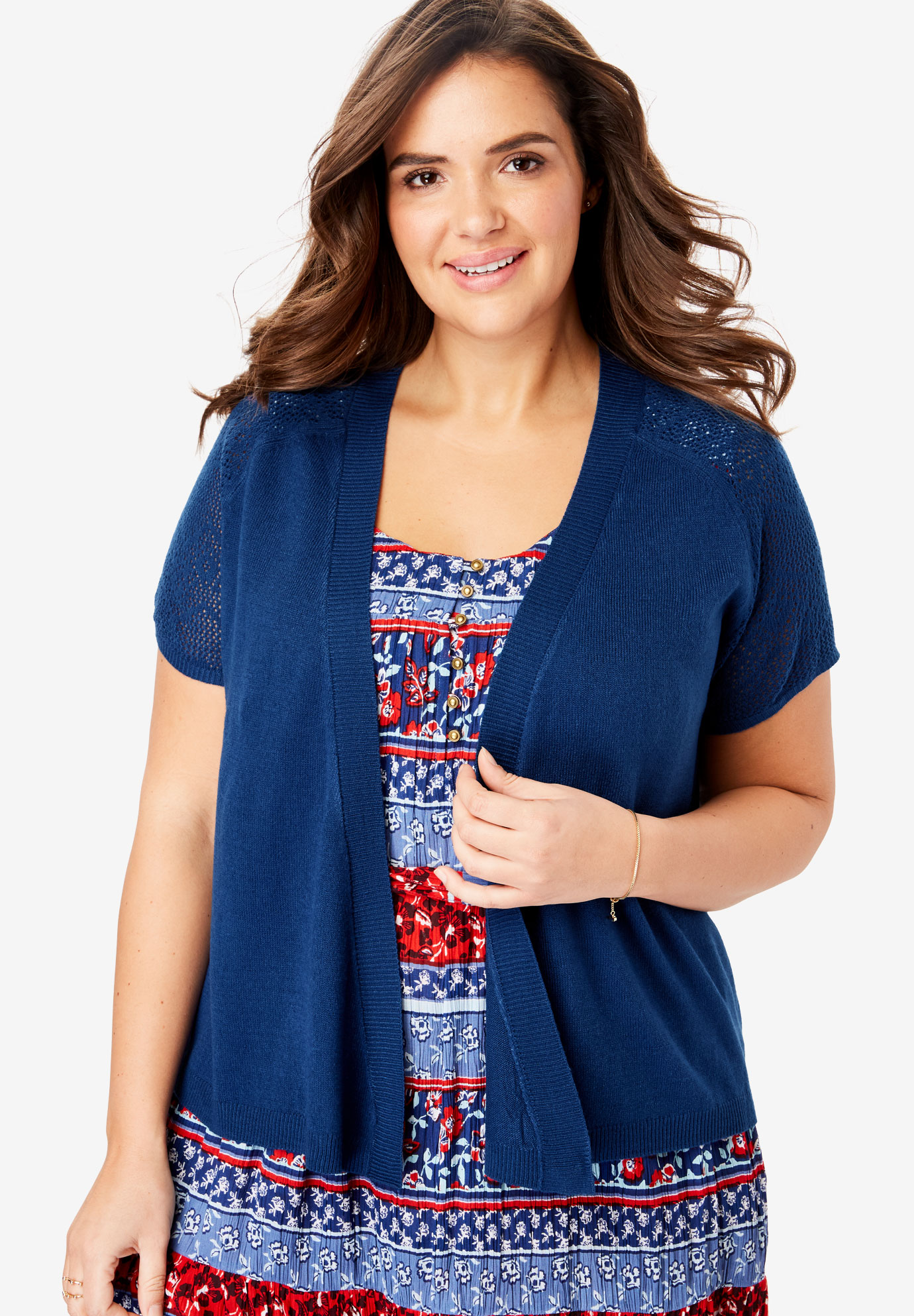 70e443880 Open Front Short Sleeve Pointelle Cardigan Sweater| Plus Size ...