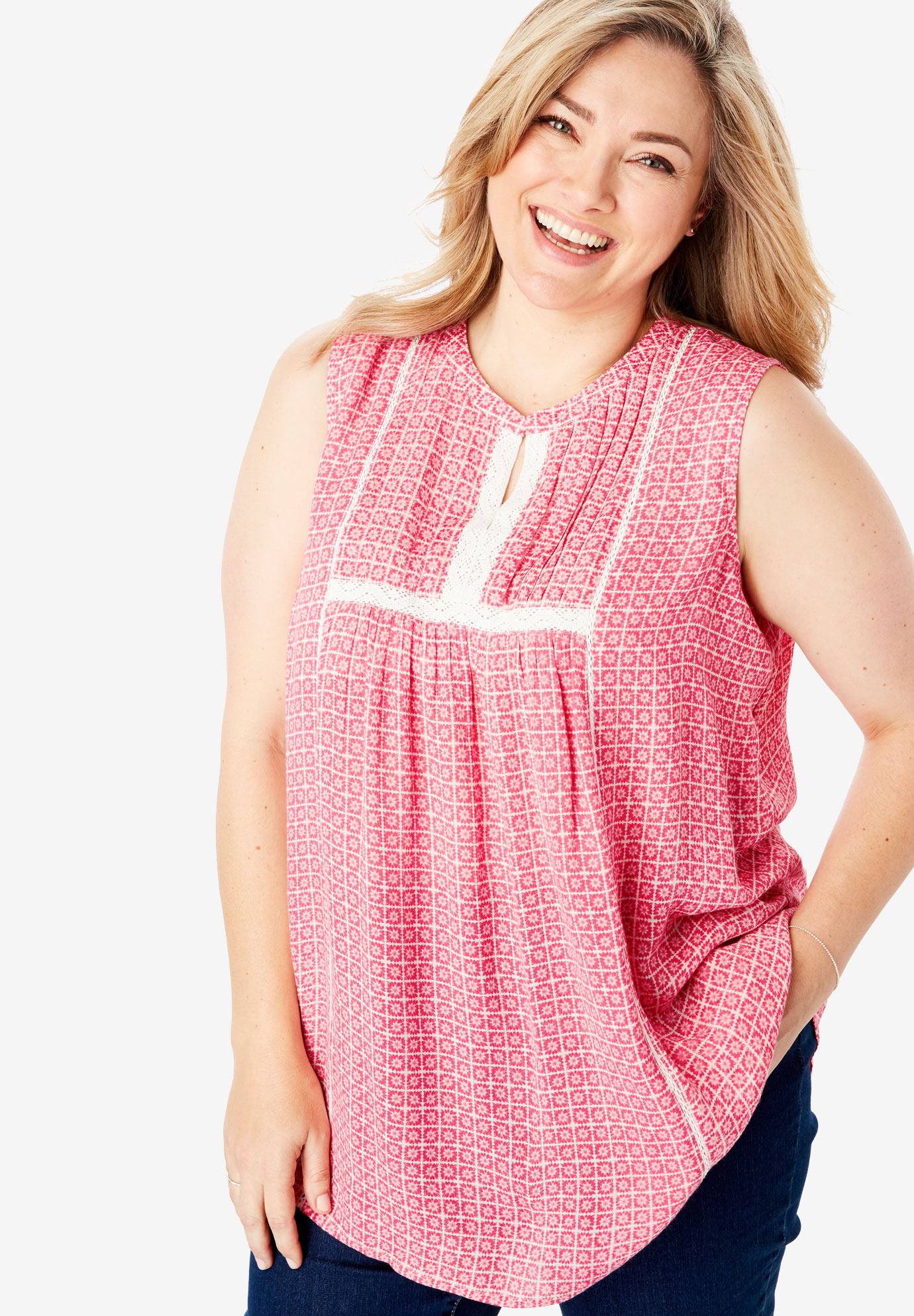 Pintucked Crochet Trim Crinkle Tank,