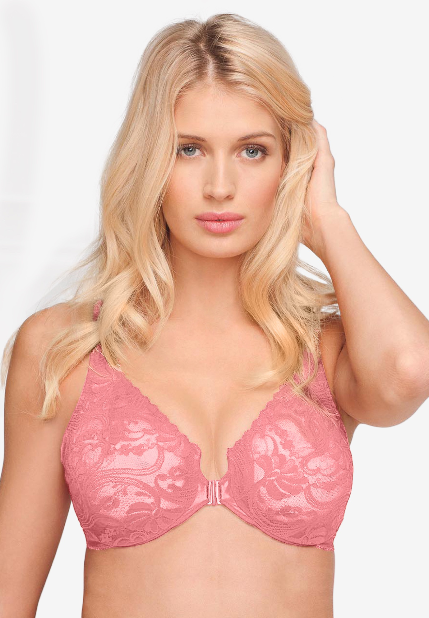 Glamorise® Wonderwire® Stretch Lace Front-Close Underwire Bra #9245,