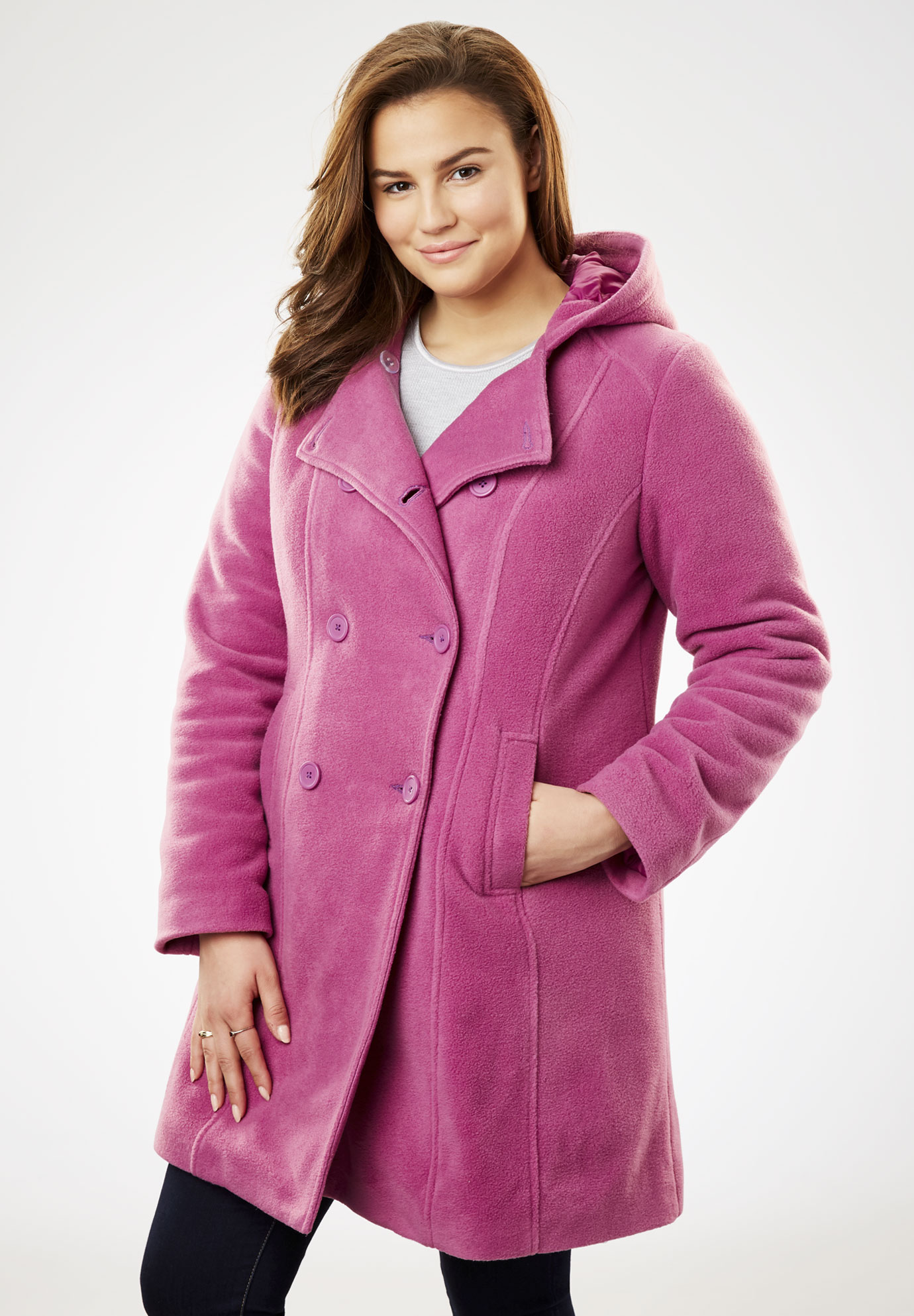 c56b0d842f7 Double-Breasted Hooded Fleece Peacoat