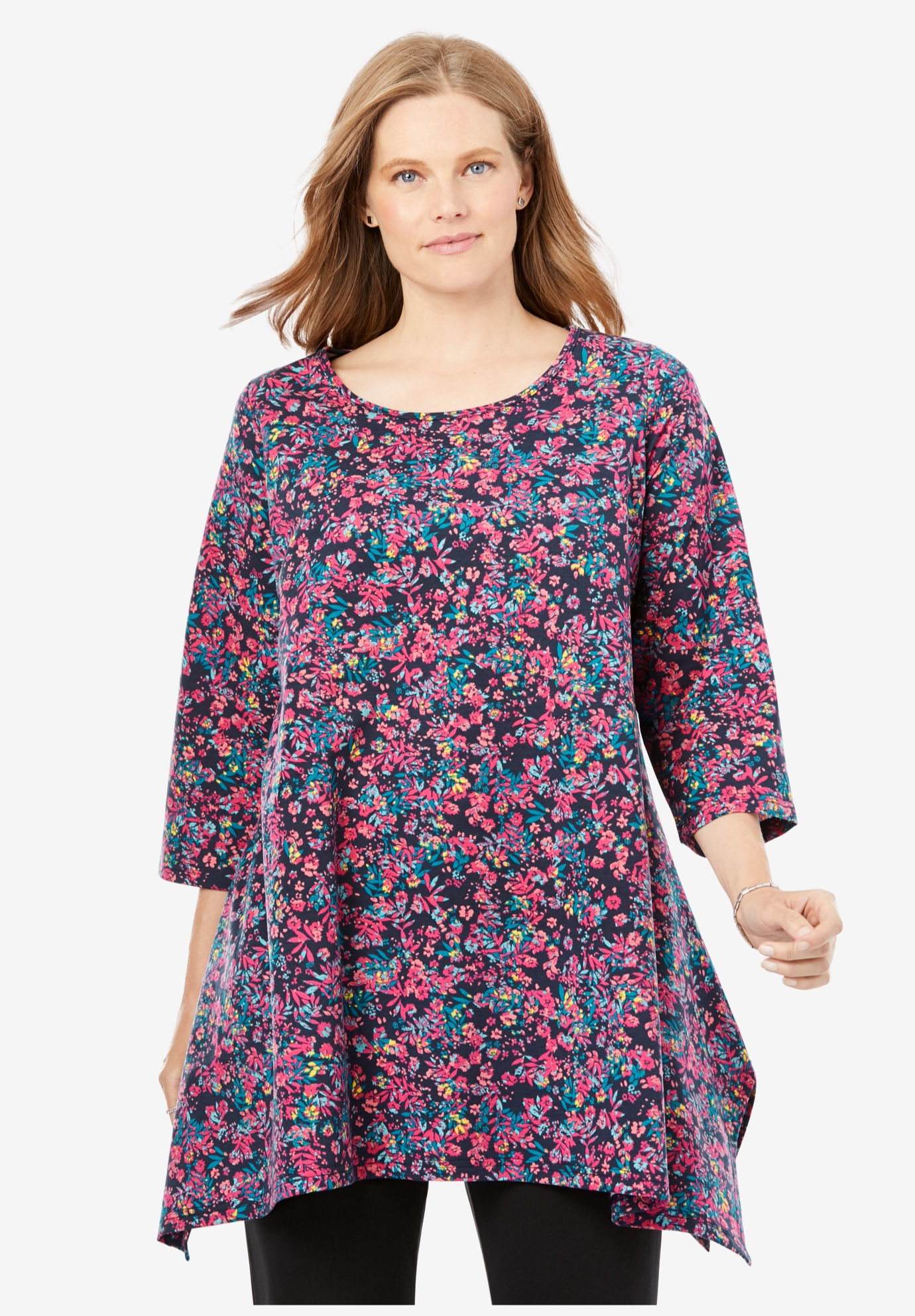 French Terry Handkerchief Hem Tunic,