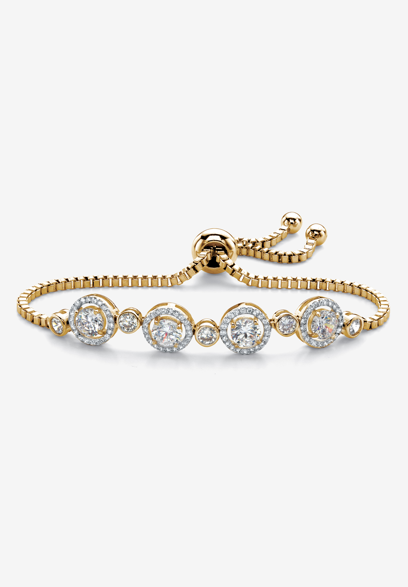 "Yellow Gold-Plated Halo Strand Bracelet (8mm), CZ, 9"" Adjustable, YELLOW GOLD"