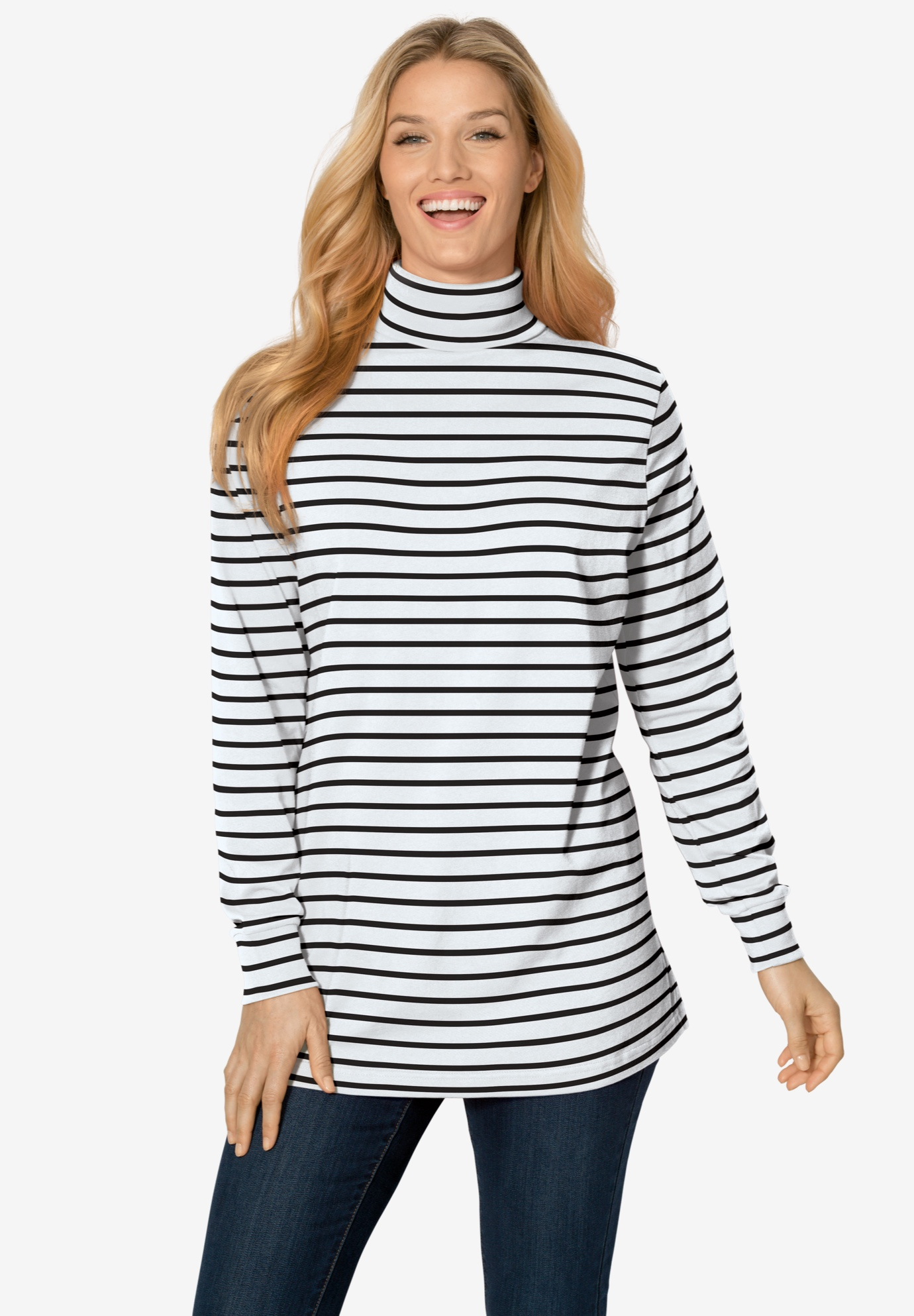 Printed Long Sleeve Turtleneck Perfect Tee,