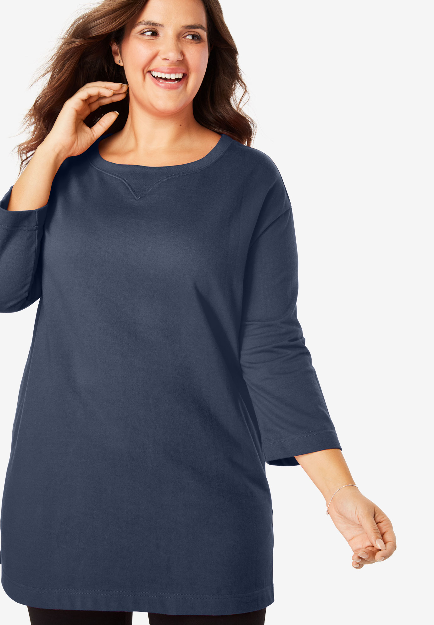 French Terry Pocketed Sweatshirt Tunic,