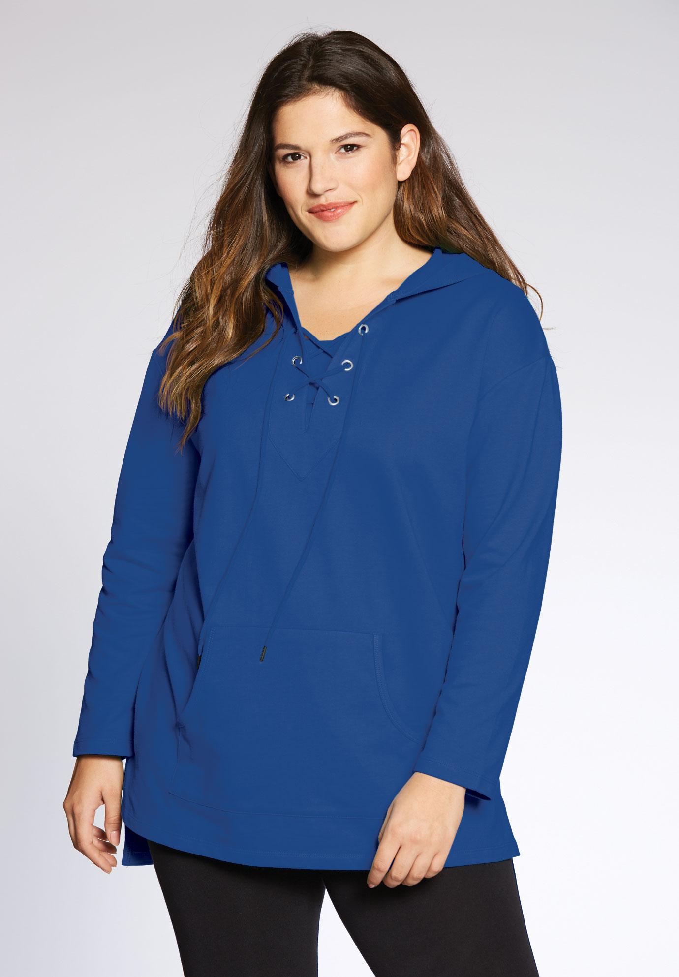 d310e06bdee Lace-up hooded sweatshirt tunic | Plus Size Tunics | Full Beauty