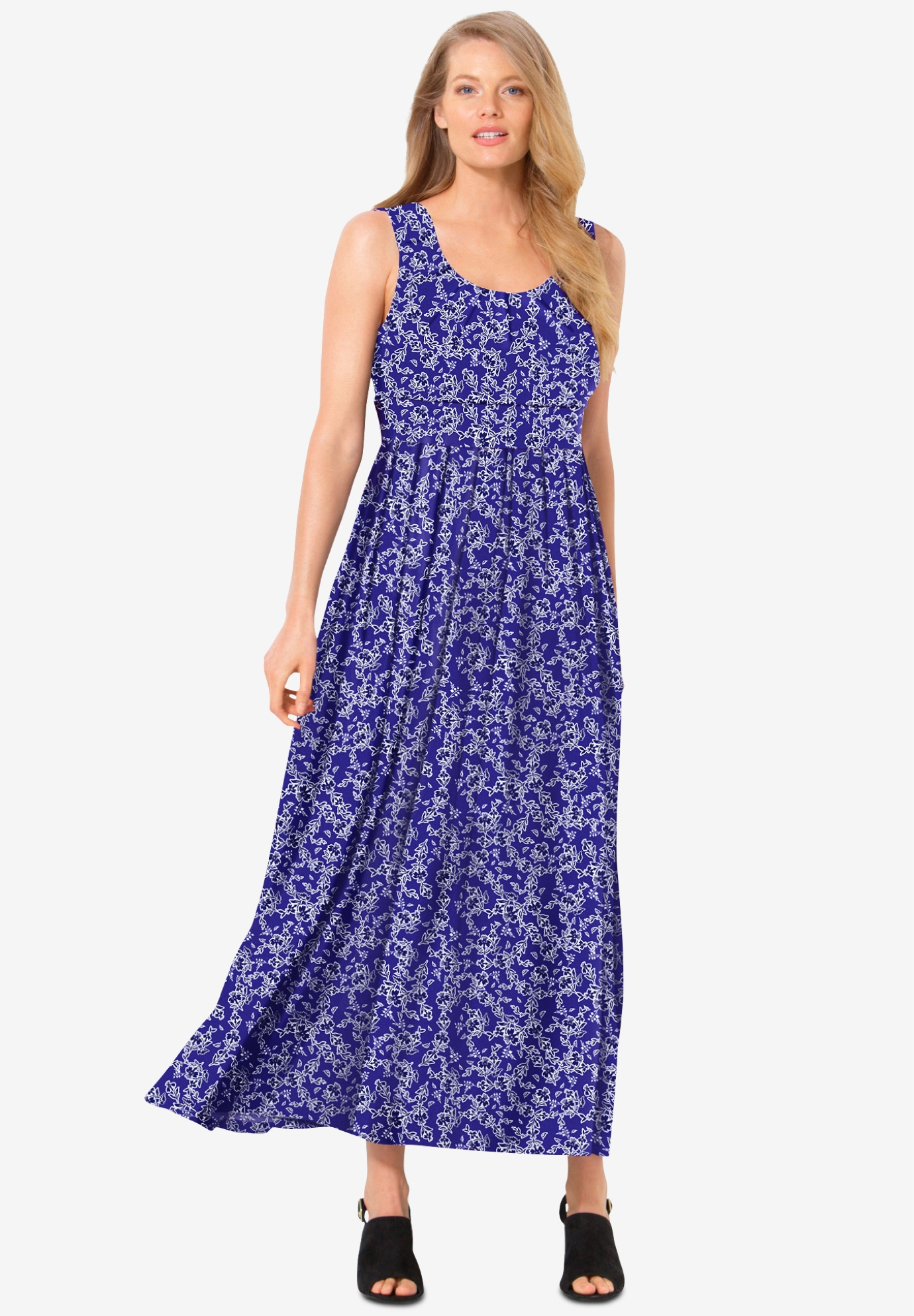 empire-waist Print maxi dress,