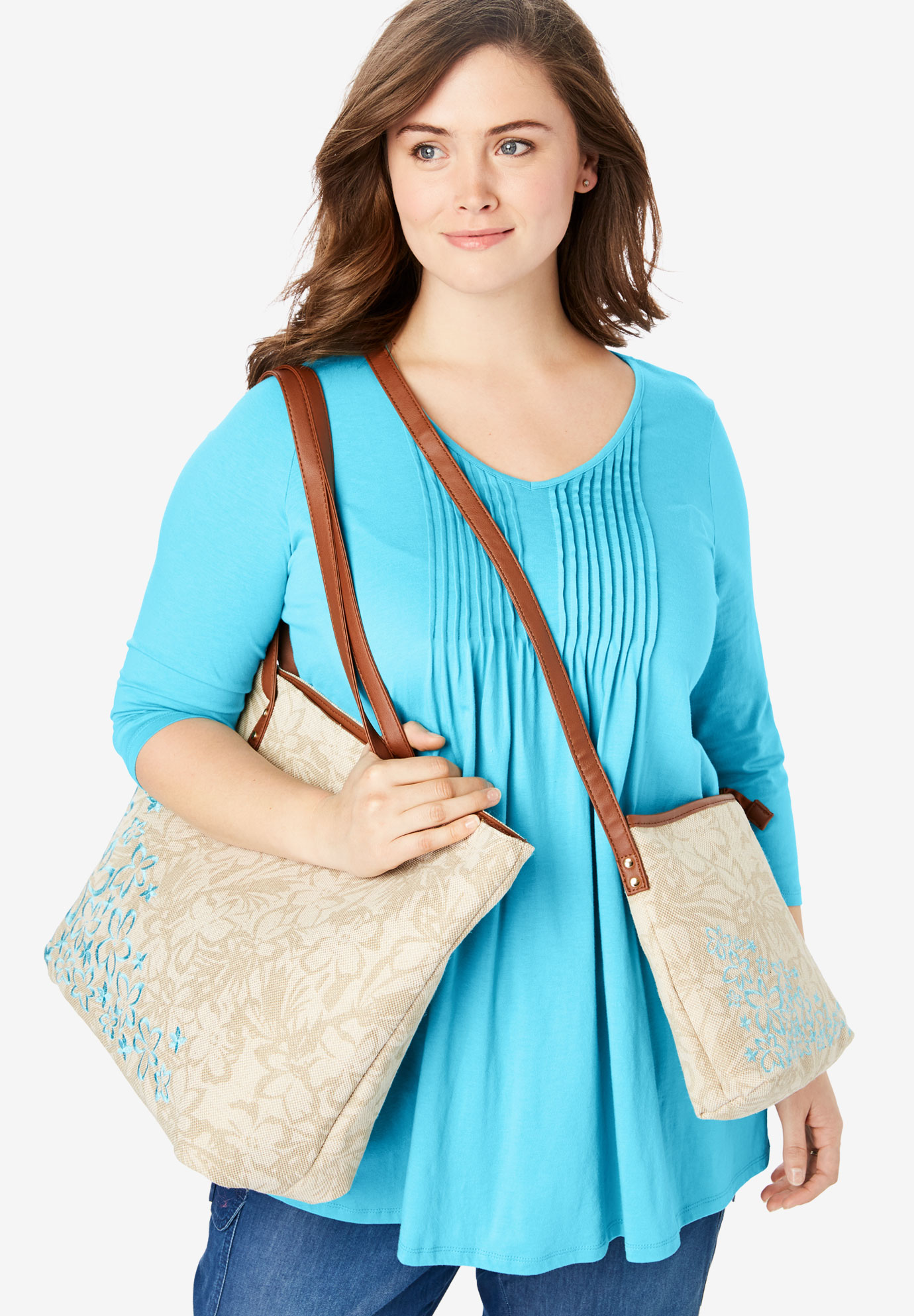 2-Piece Floral Tote Set, CARIBBEAN BLUE HIBISCUS EMBROIDERY