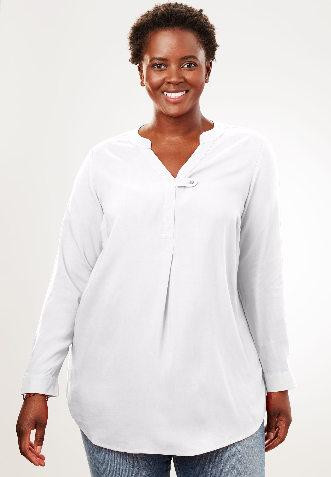 Tab-Front Long Sleeve Shirt,