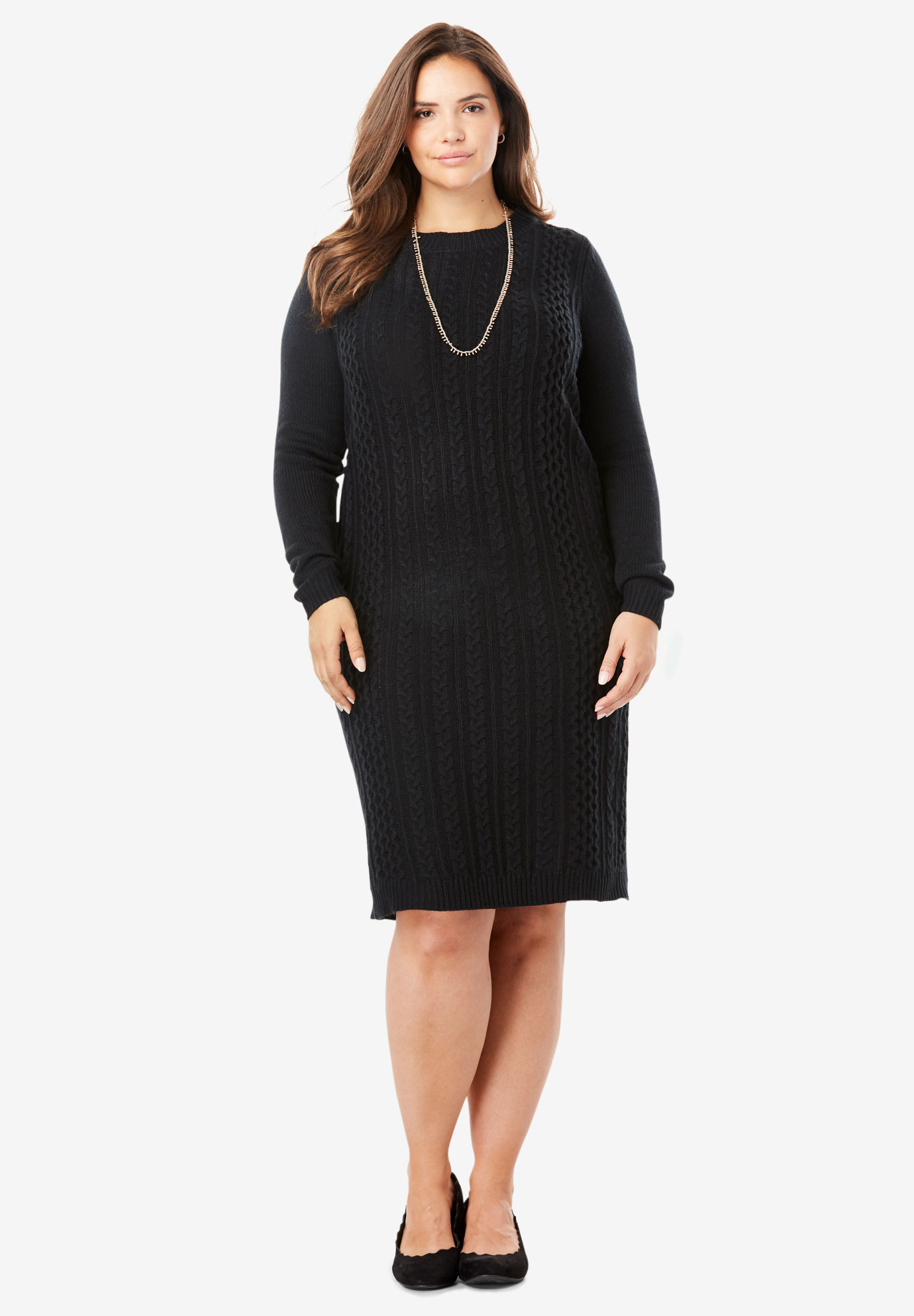 Cableknit Sweater Dress| Plus Size Casual Dresses | Full Beauty