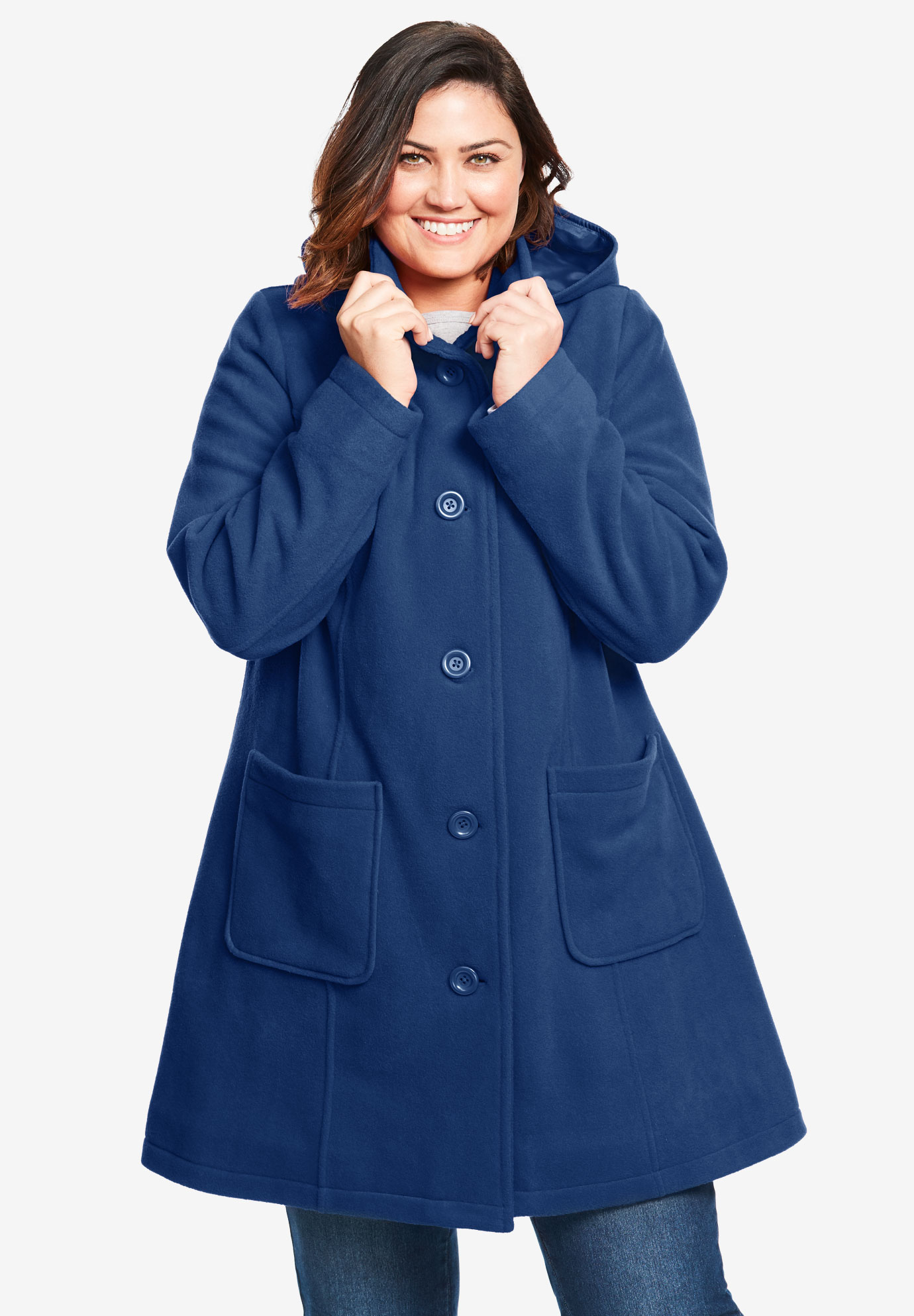 Hooded A-Line Fleece Coat,