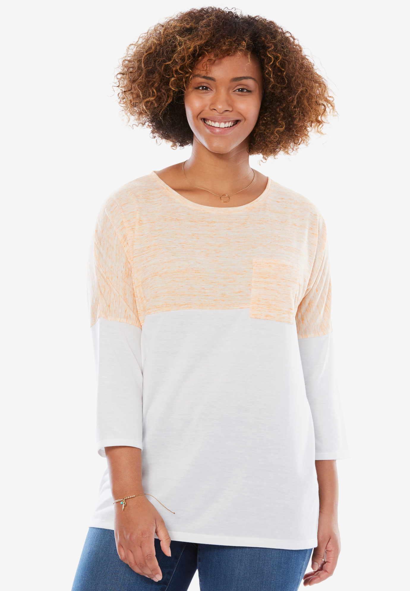 Marled Color Block Tee,