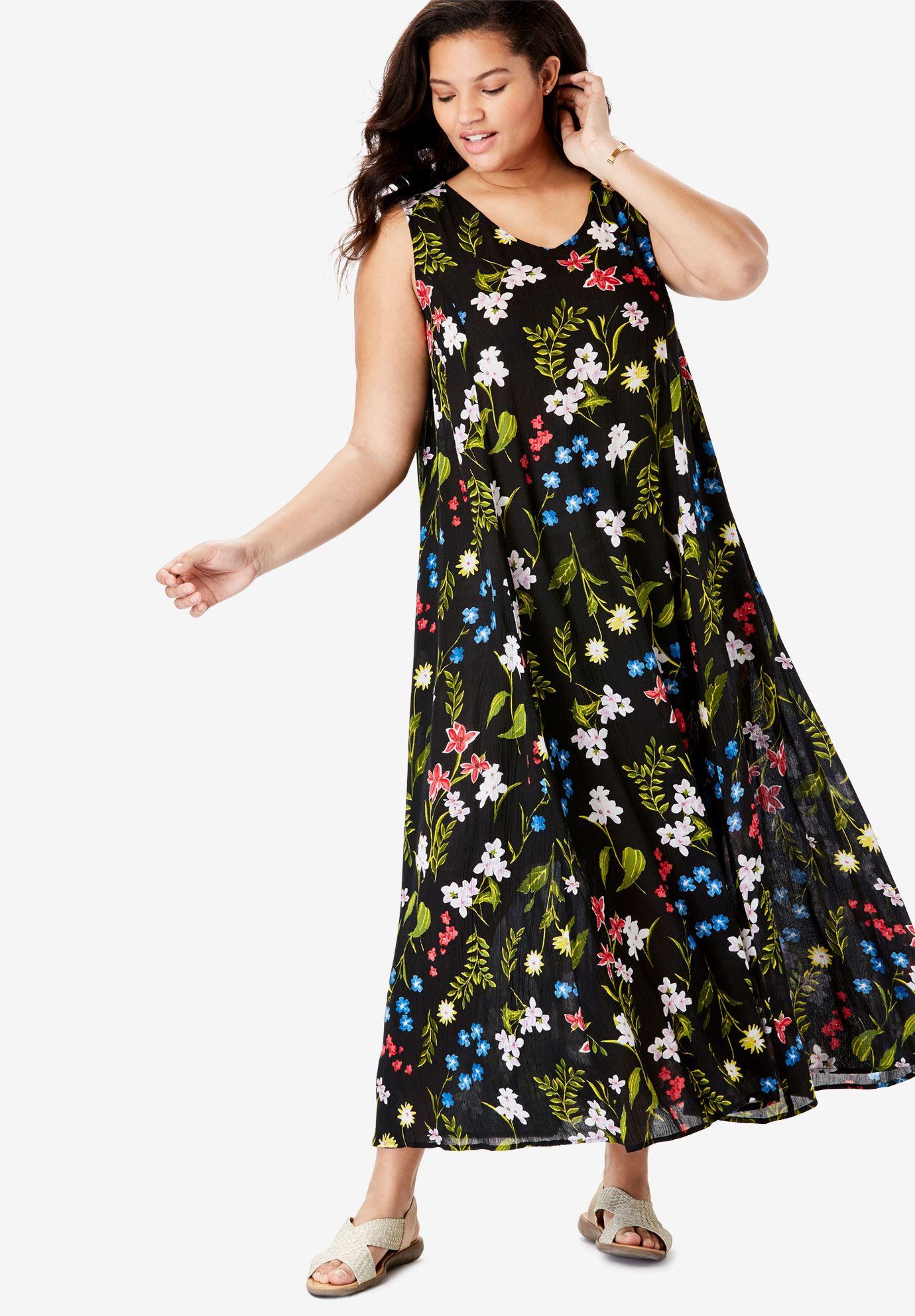 b9f590b98 Sleeveless Crinkle A-Line Dress| Plus Size Casual Dresses | Full Beauty