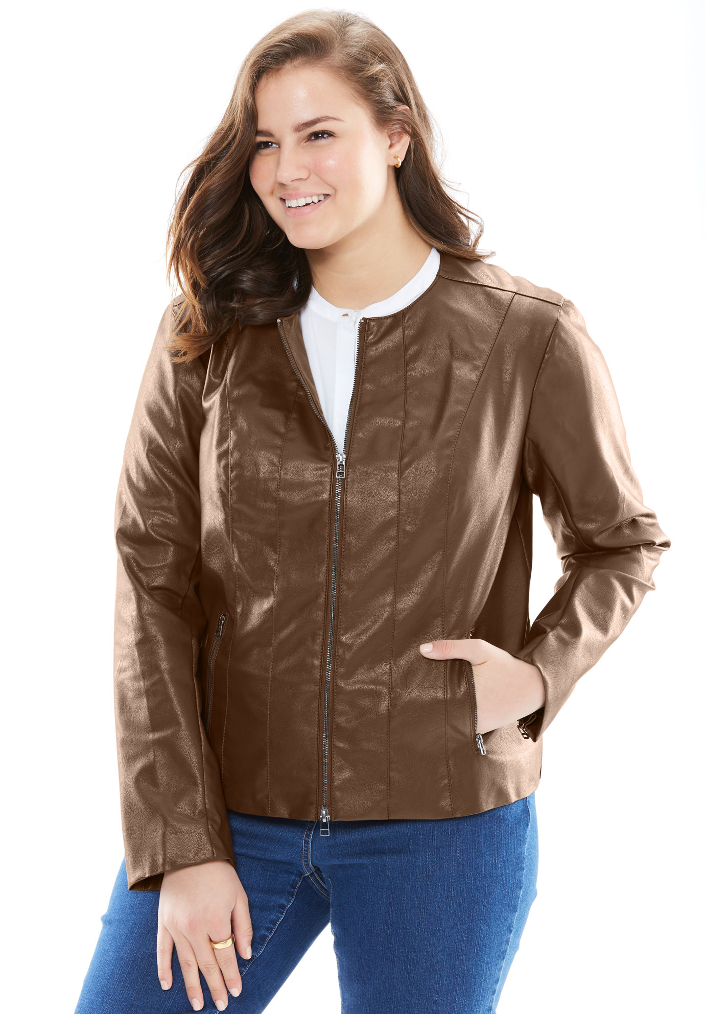 Faux Leather Jacket,