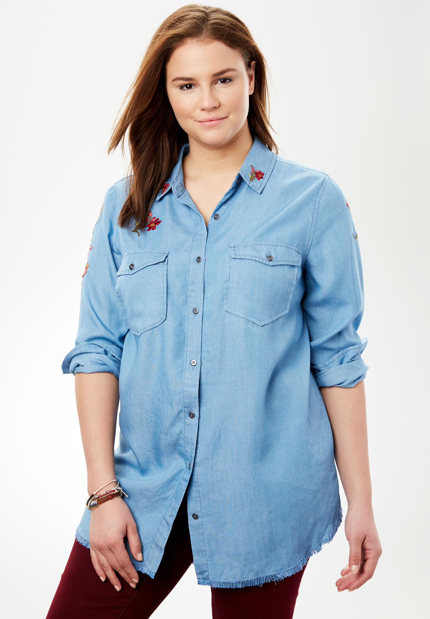 f56bc1beded Embroidered Utility Button-Down Shirt