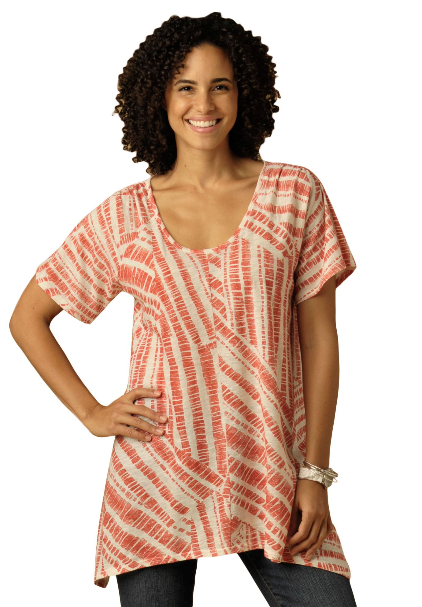 Top in print slub knit with hanky hem,