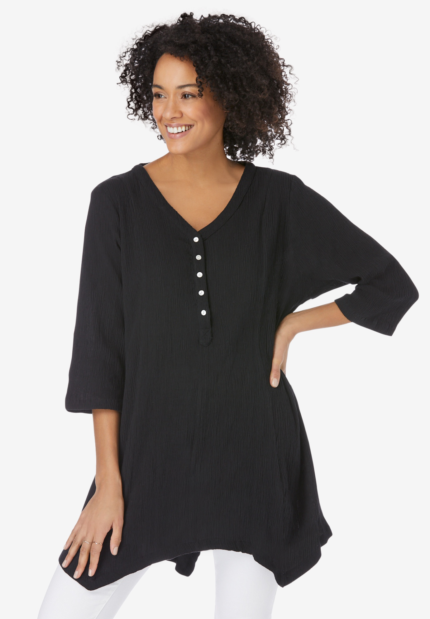 V-neck Henley Tunic,