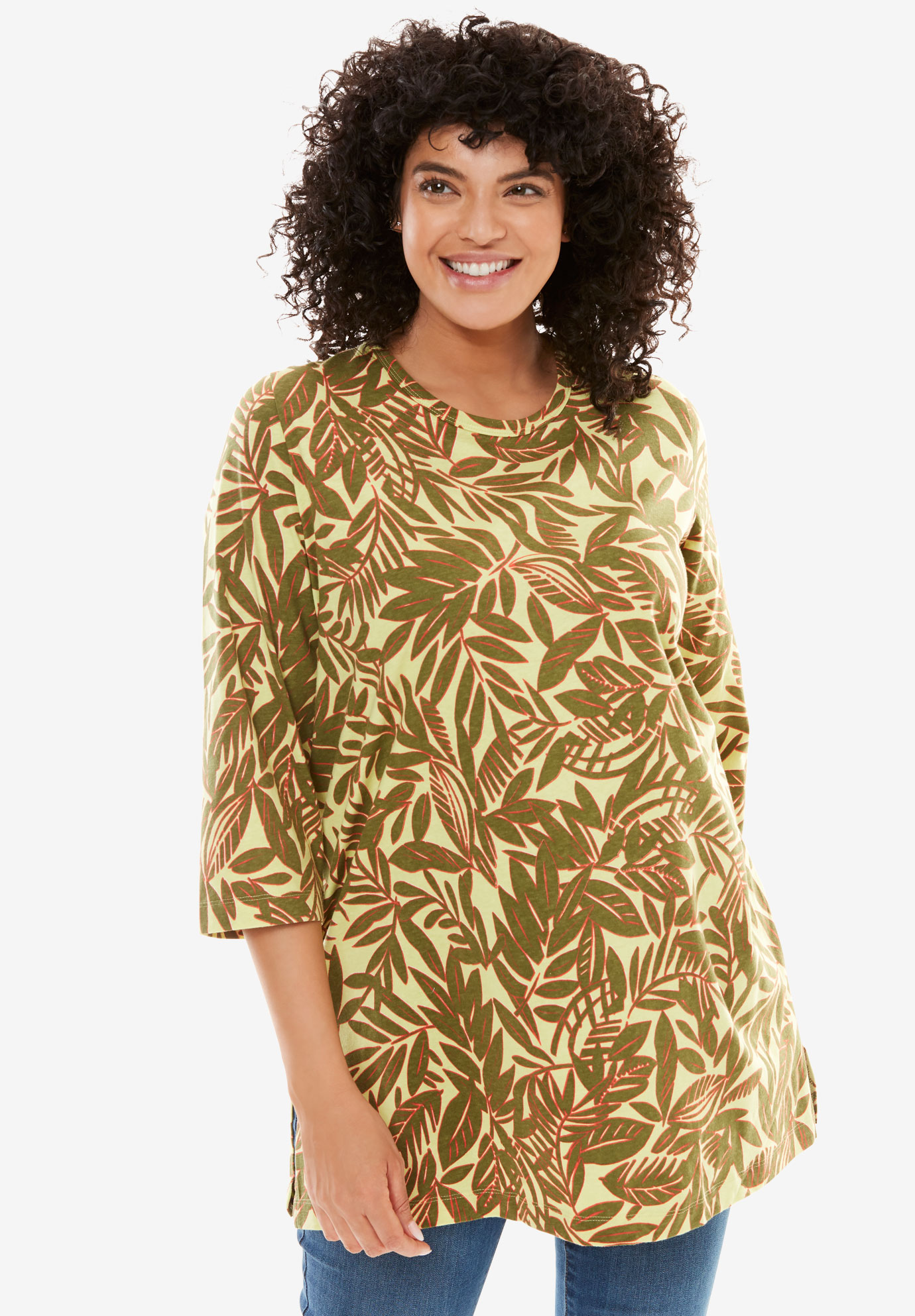 Printed Three-Quarter Sleeve Perfect Tunic,