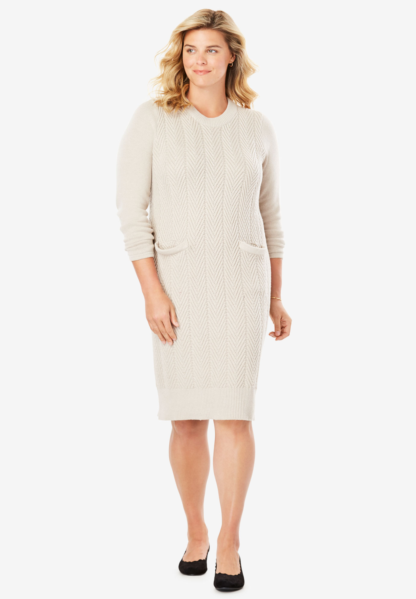 Chevron Stitch Sweater Dress| Plus Size Casual Dresses | Full Beauty