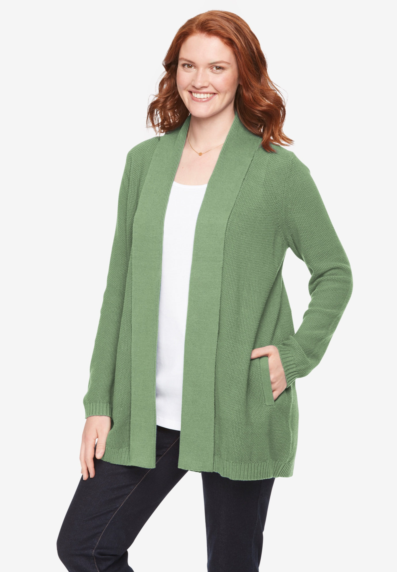 Shawl Collar Seed Stitch Open Front Cardigan,
