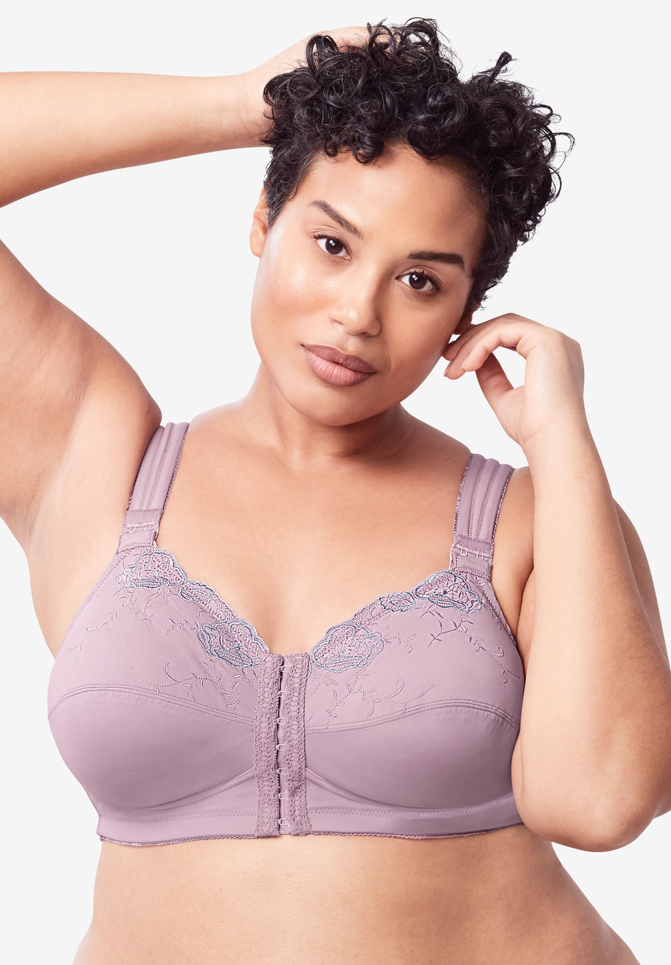 2543e4aff Front-Close Embroidered Wireless Posture Bra by Comfort Choice ...