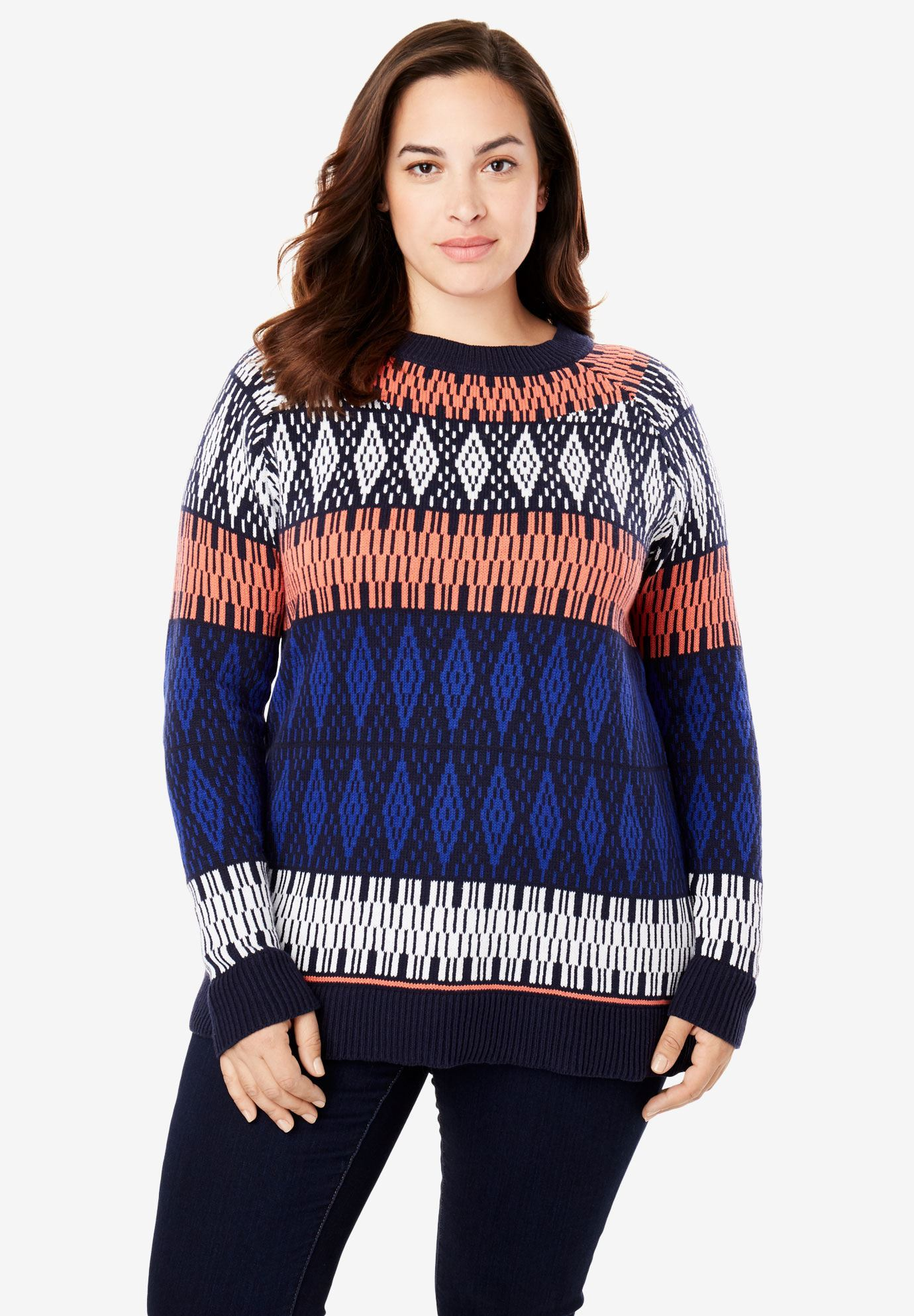 fair isle knit pullover sweater plus size pullovers full beauty. Black Bedroom Furniture Sets. Home Design Ideas