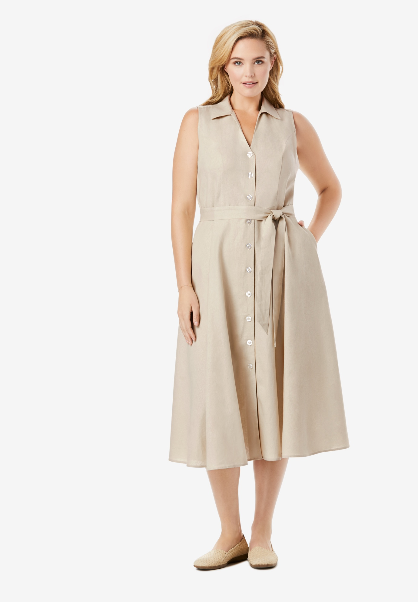 Button-Front Linen Shirtdress,