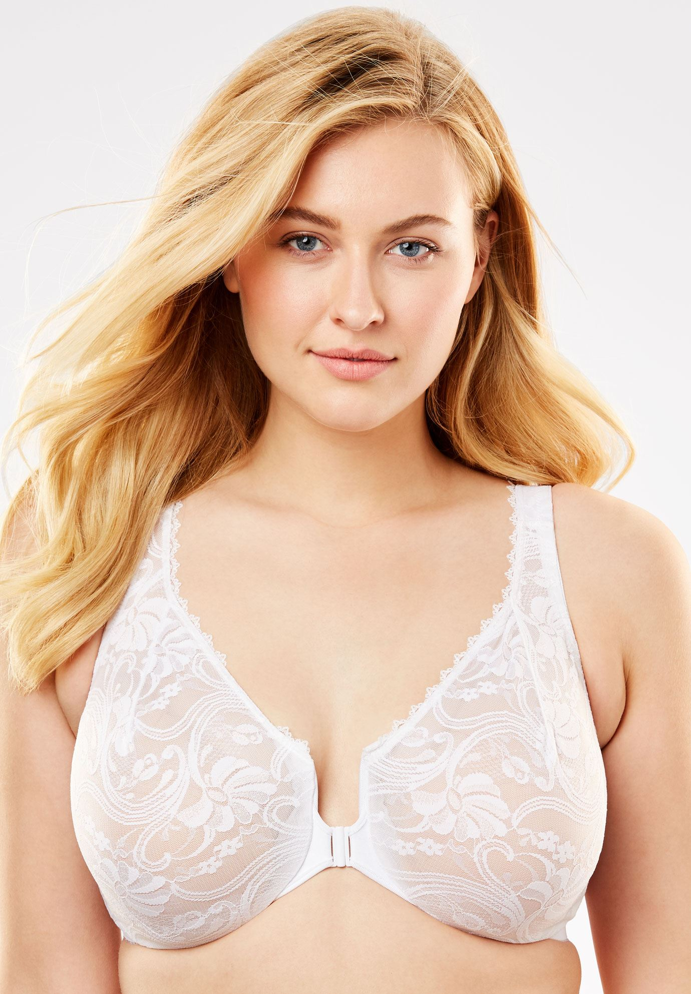 Front-Hook Stretch Lace Wonderwire® Bra from Glamorise®,