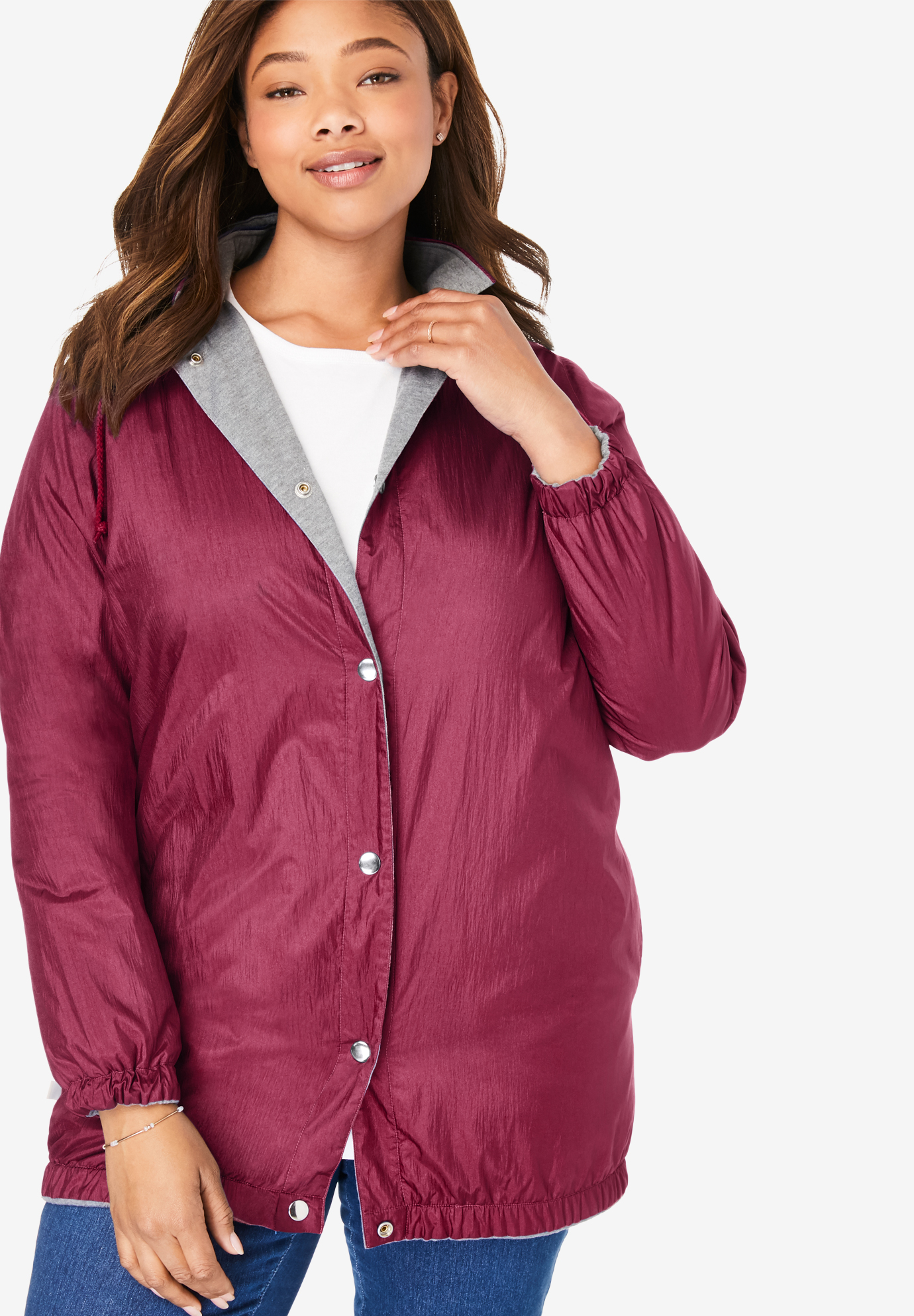 7f5c7c38d34e0c Fleece Nylon Reversible Rain Jacket| Plus Size Jackets & Blazers ...