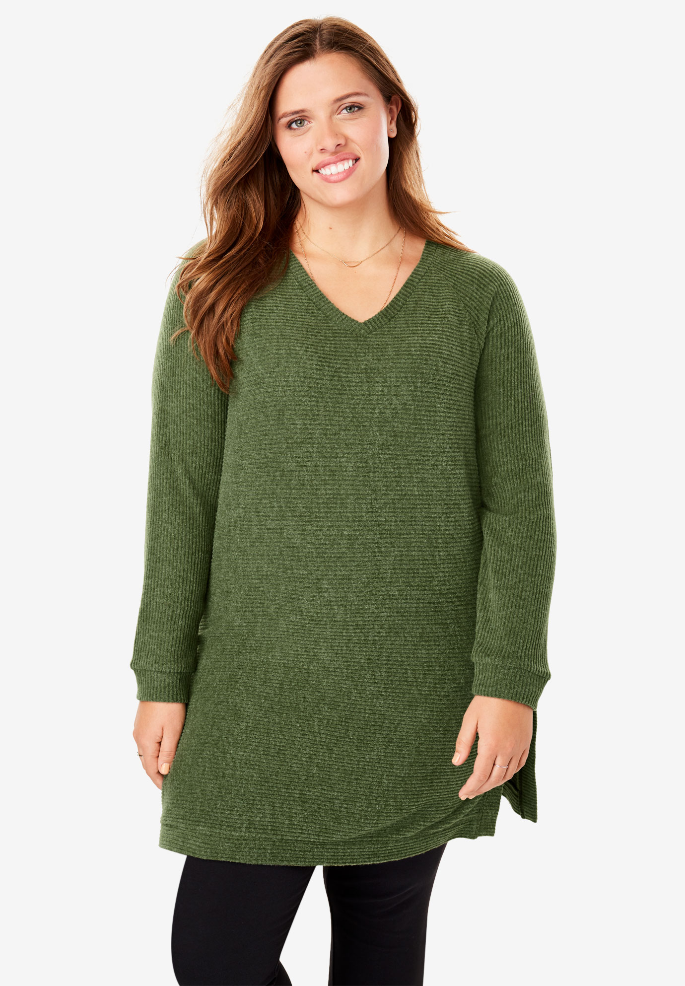 Soft Ribbed V-Neck Tunic,