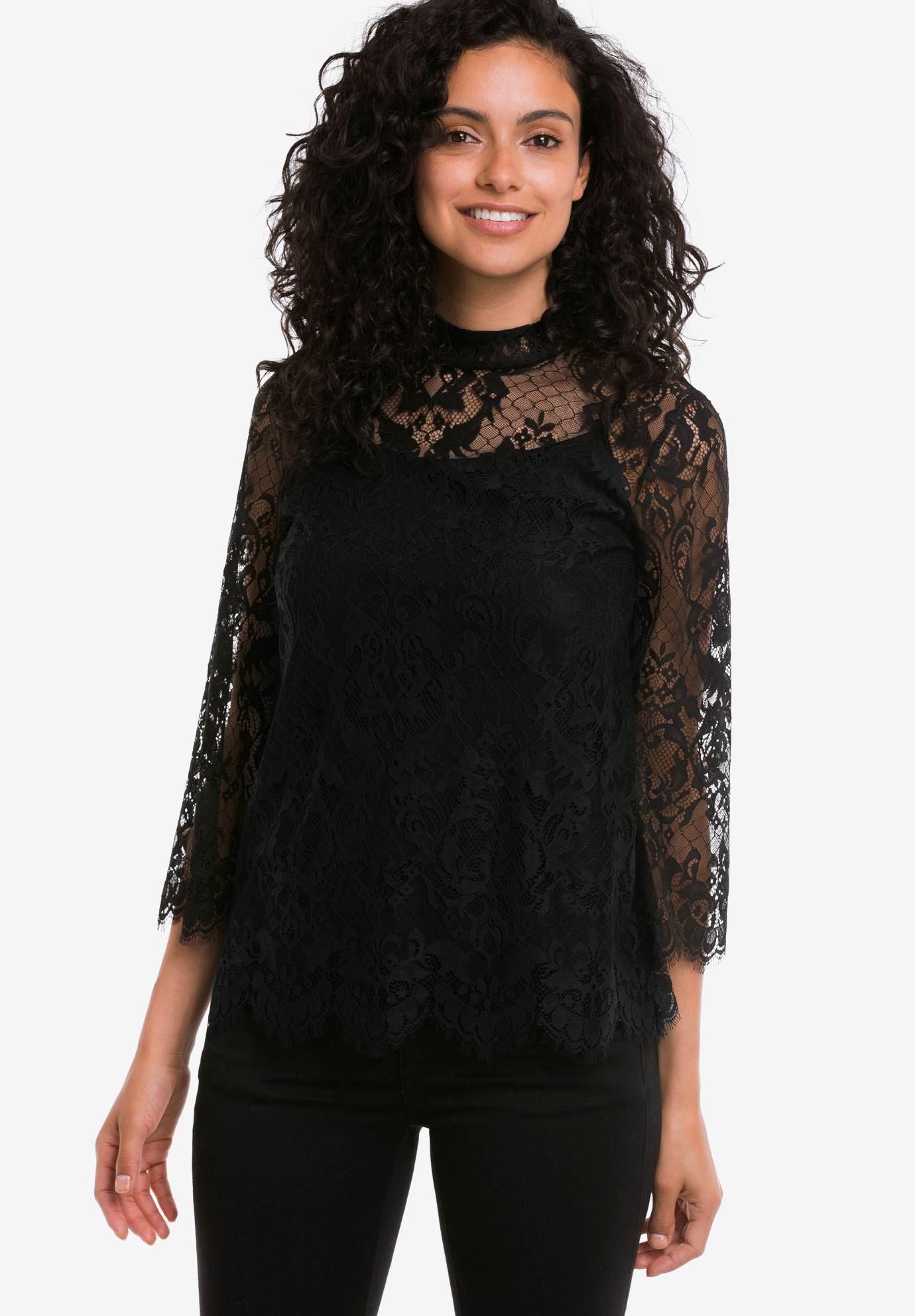 Lace Mock Neck Top by ellos®,