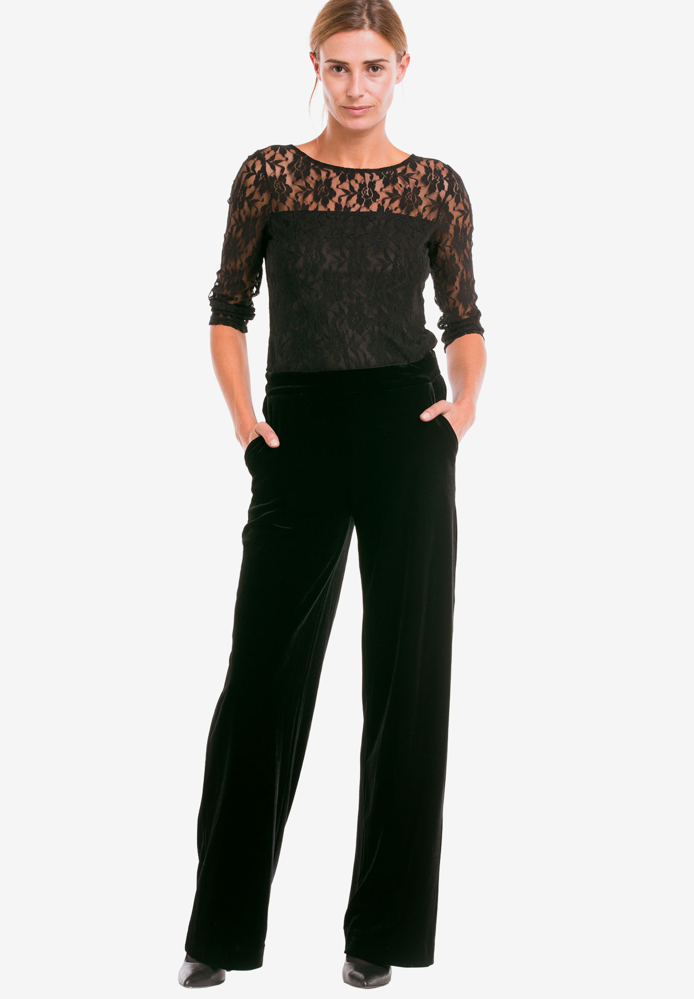 Stretch Velvet Wide Pants by ellos®,