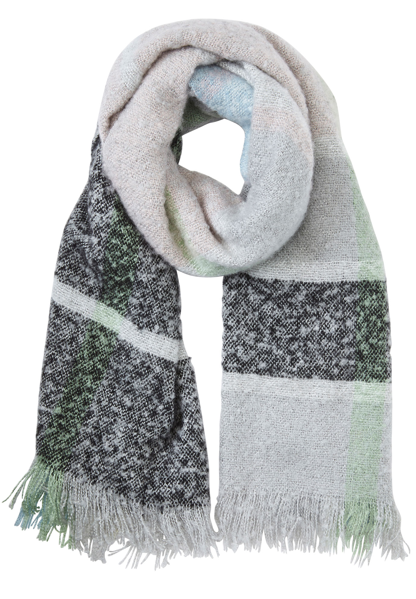 Textured Plaid Fringe Scarf by ellos®, PASTEL MULTI PLAID